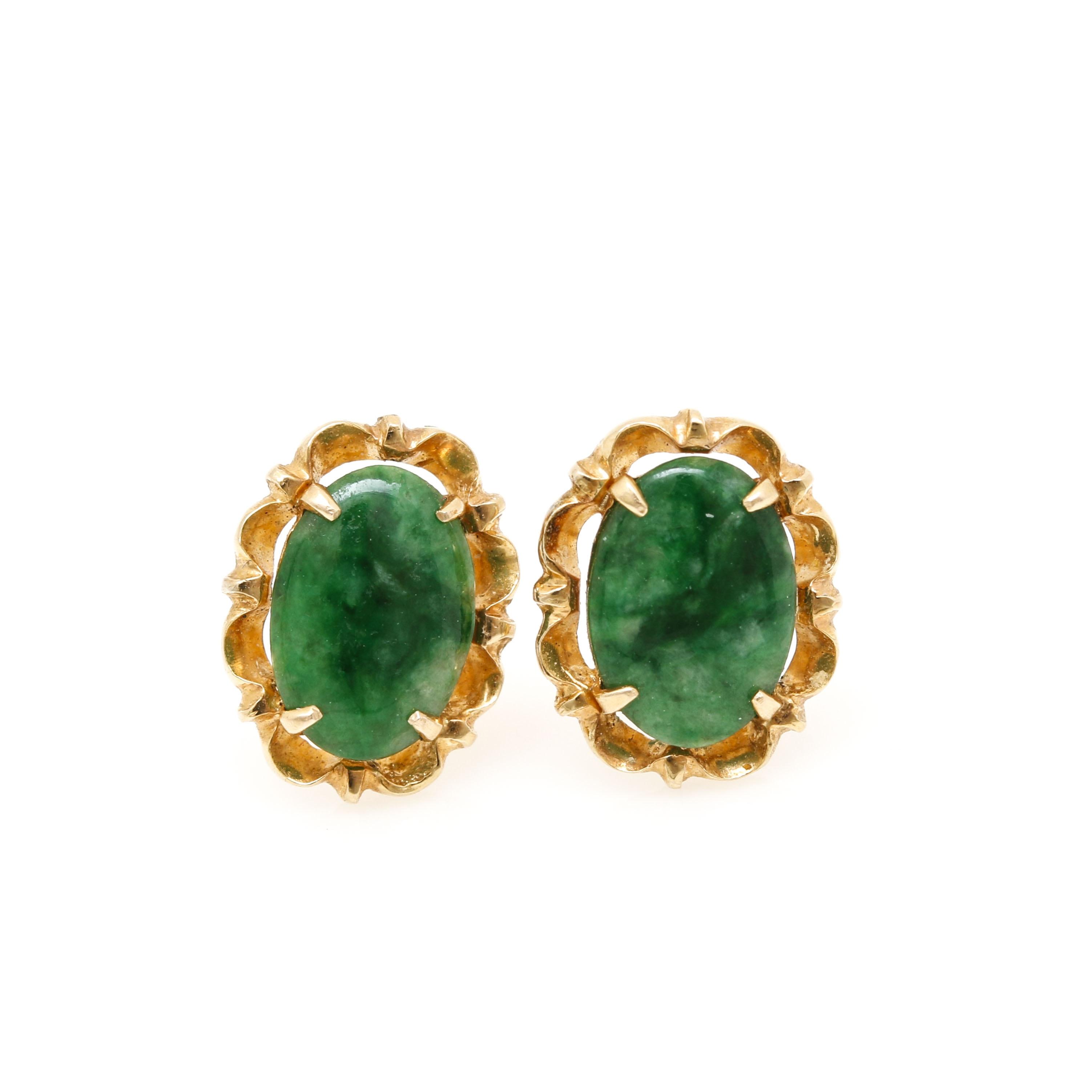 14K Yellow Gold Jadeite Earrings
