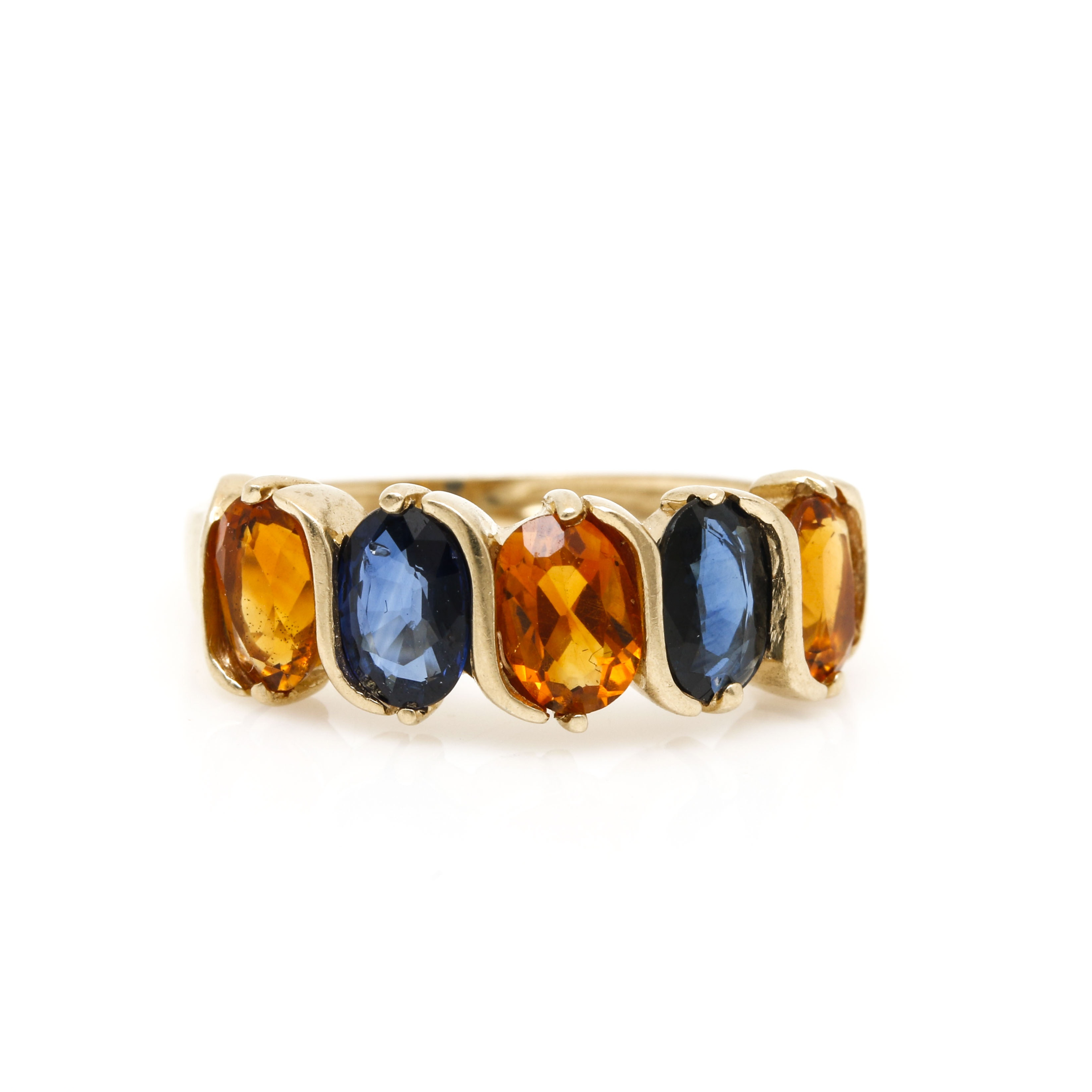 14K Yellow Gold Blue Sapphire and Citrine Ring