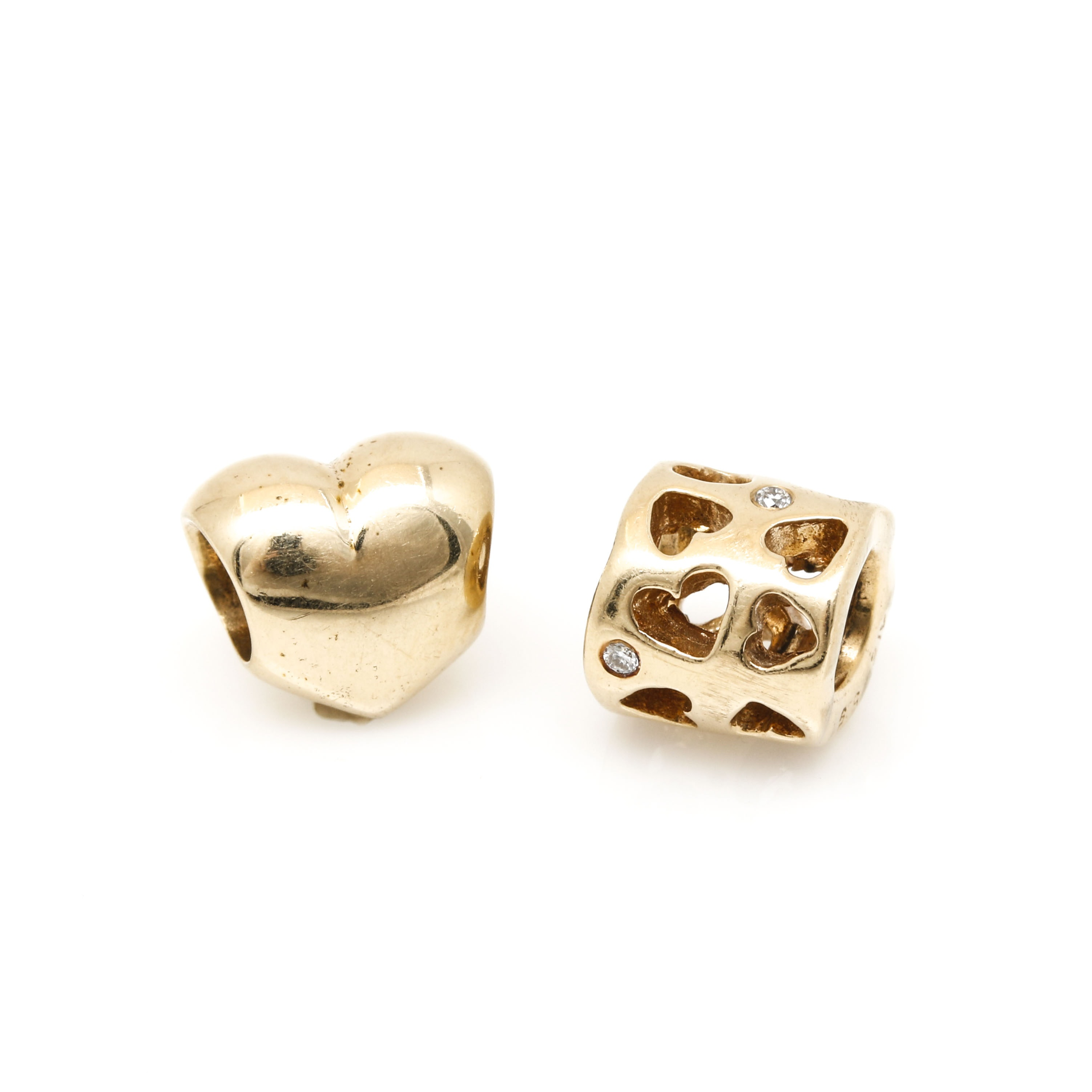 Pandora 14K Yellow Gold Heart Themed Charms Including Diamonds