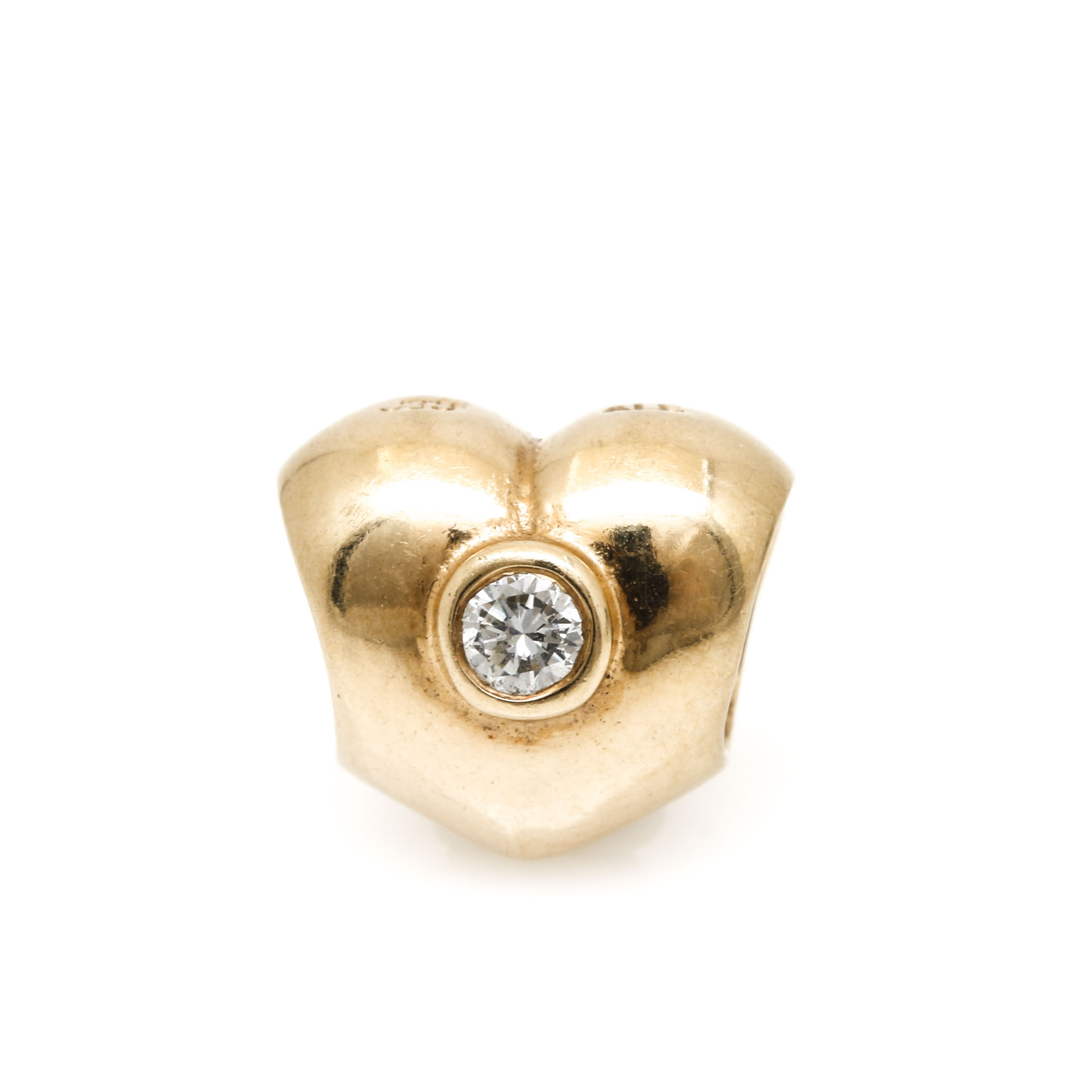 Pandora 14K Yellow Gold Diamond Heart Charm
