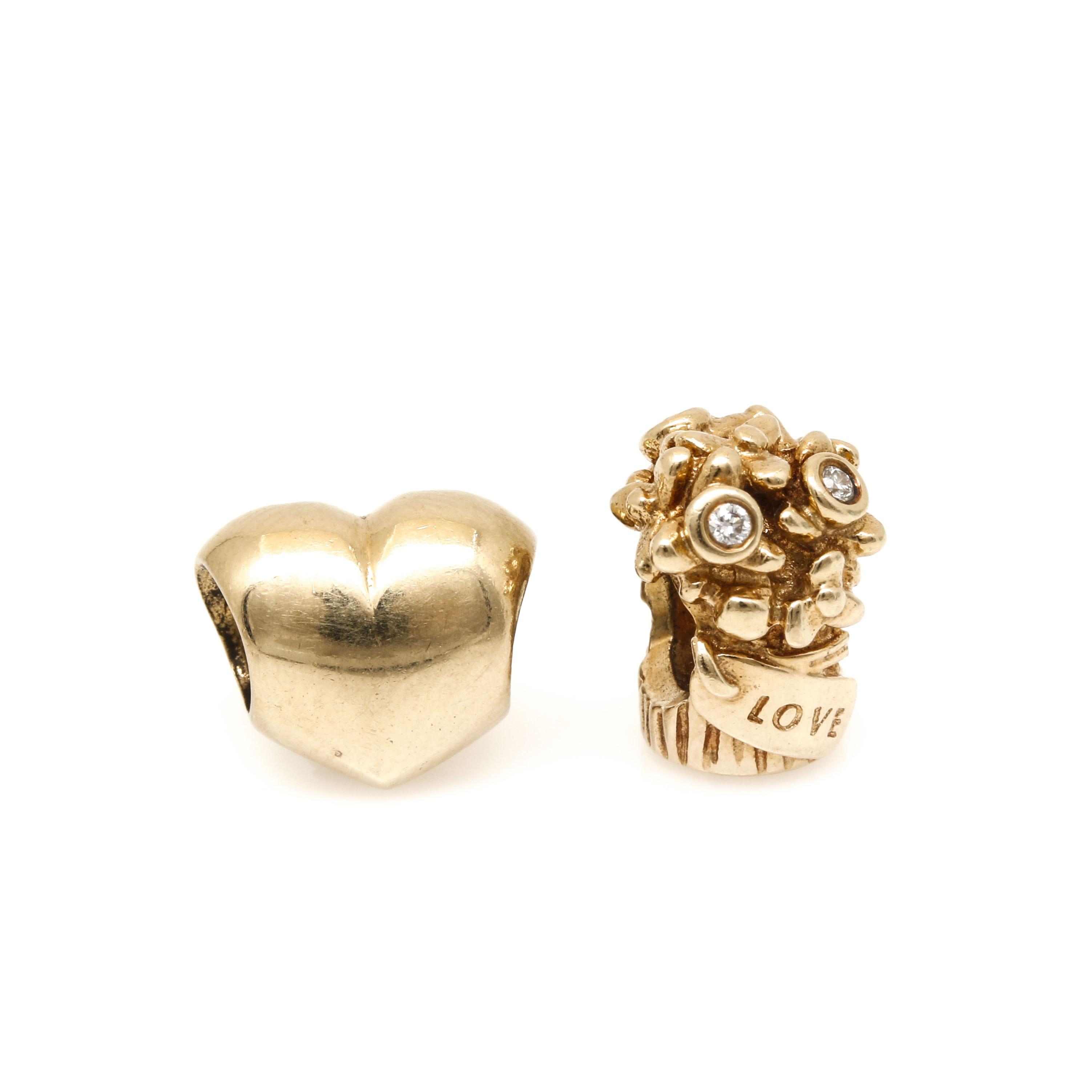 Pandora 14K Yellow Gold Diamond Bouquet and Heart Bead