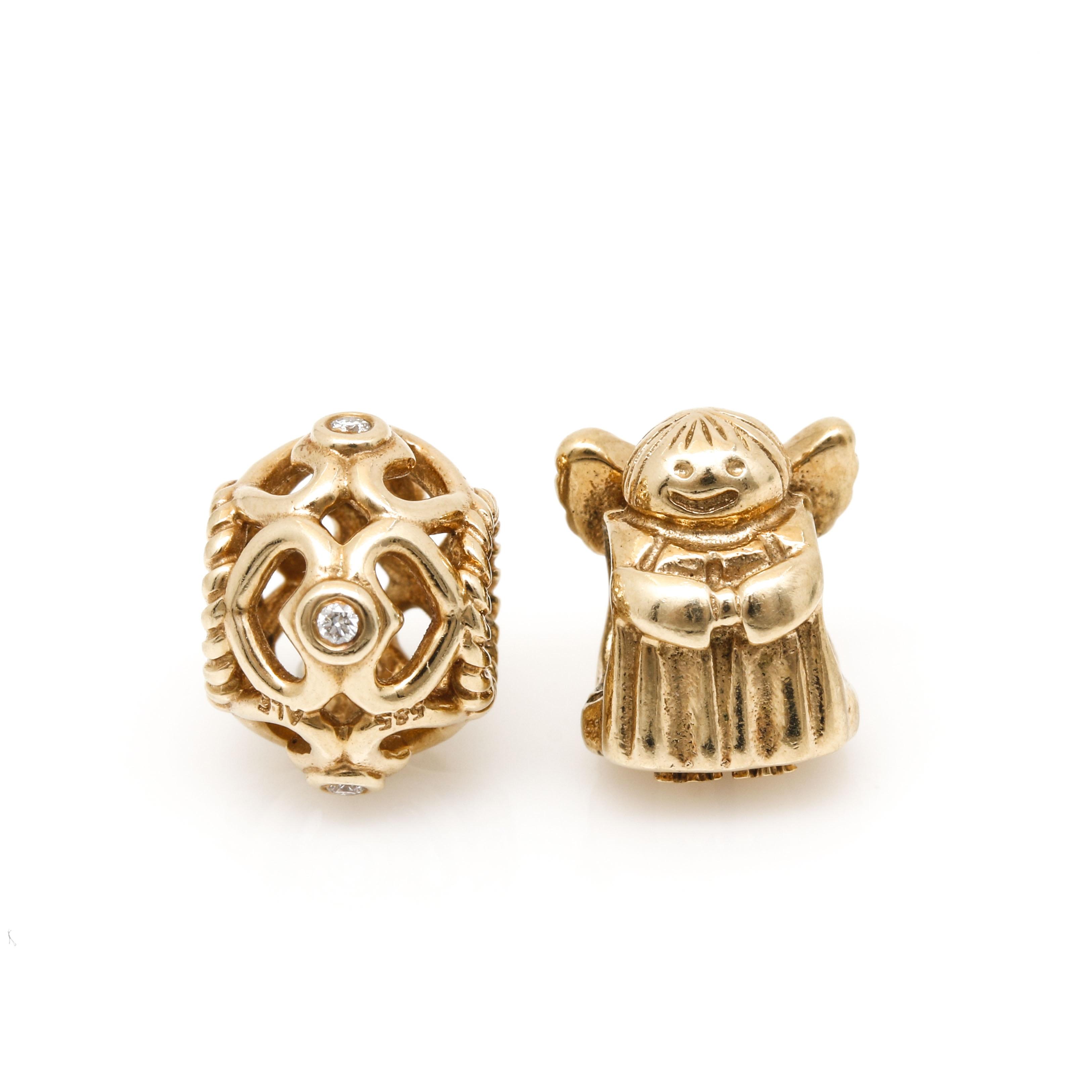 Pandora 14K Yellow Gold Beads Including Diamonds