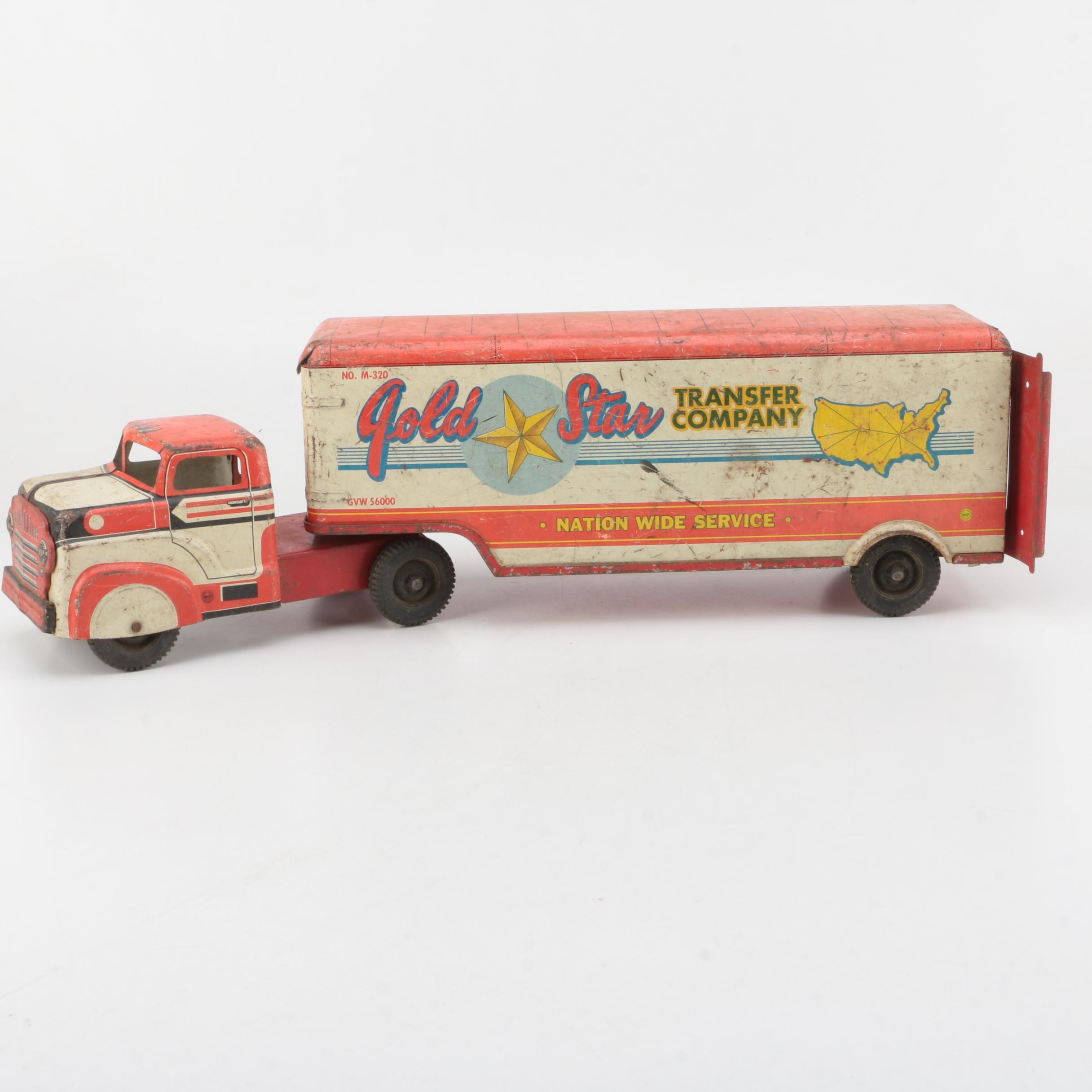 1950s Marx Tin Litho Gold Star Transfer Company Delivery Truck