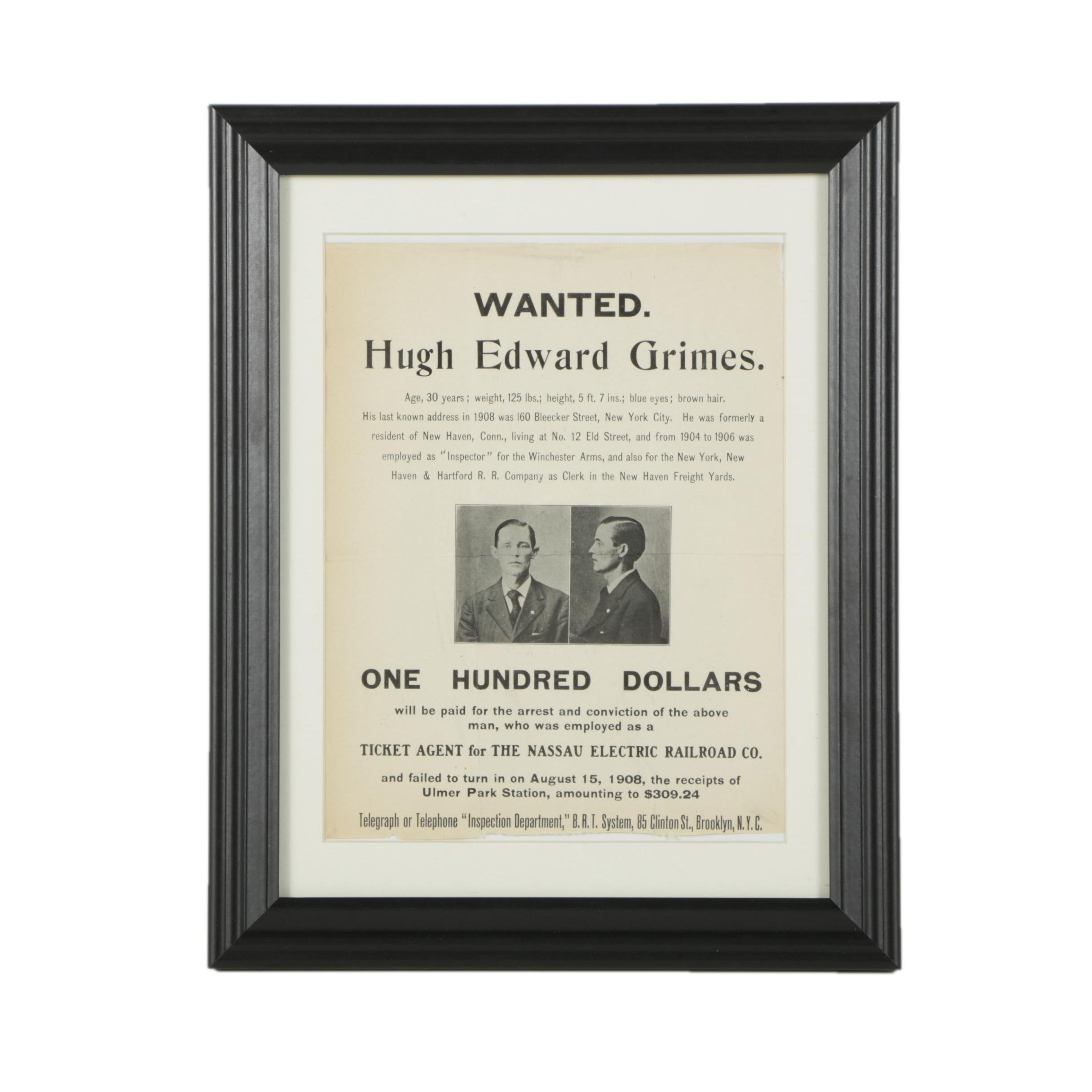 1908 Wanted Fugitive Poster from New York