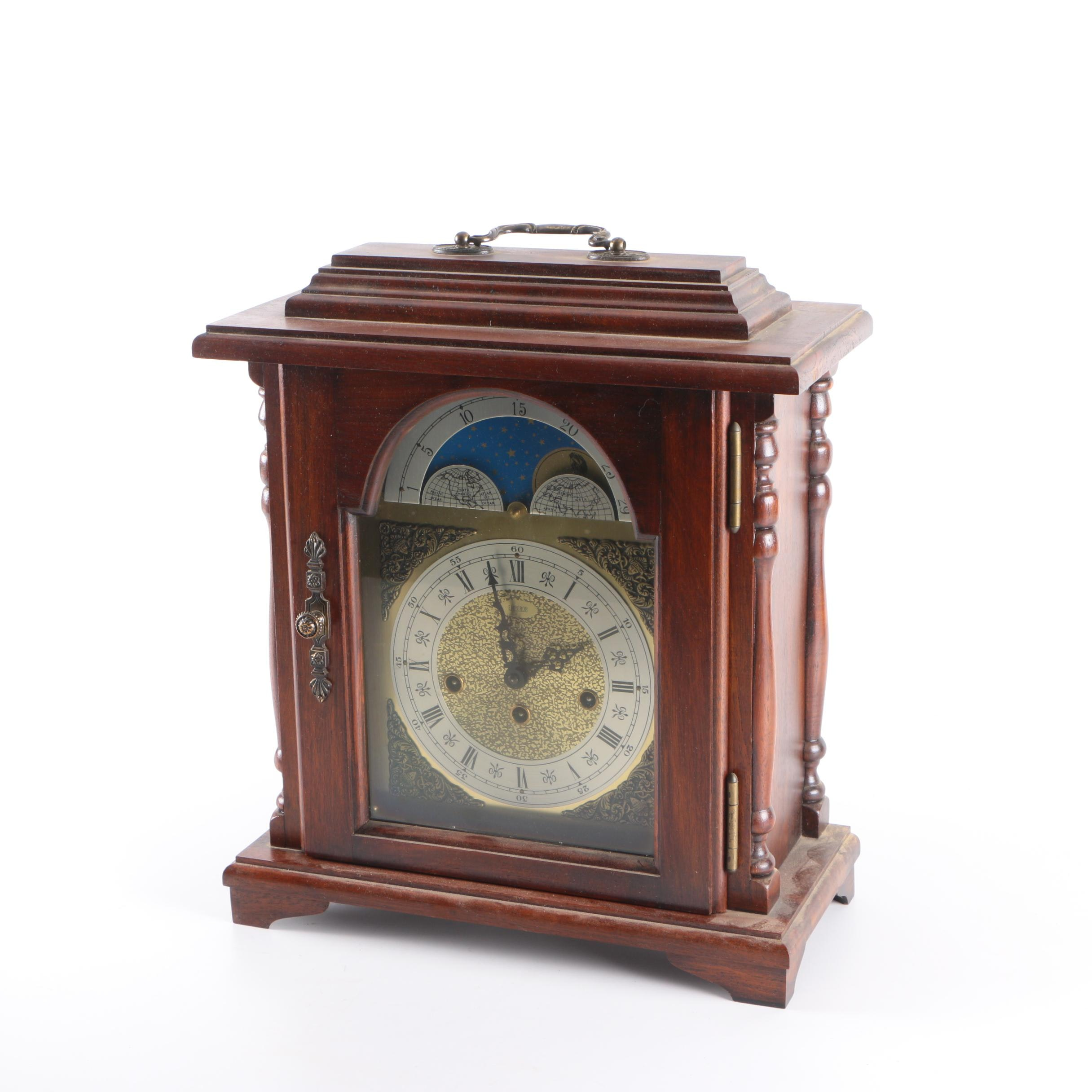 Emperor Mantel Clock with Moon Phase Dial