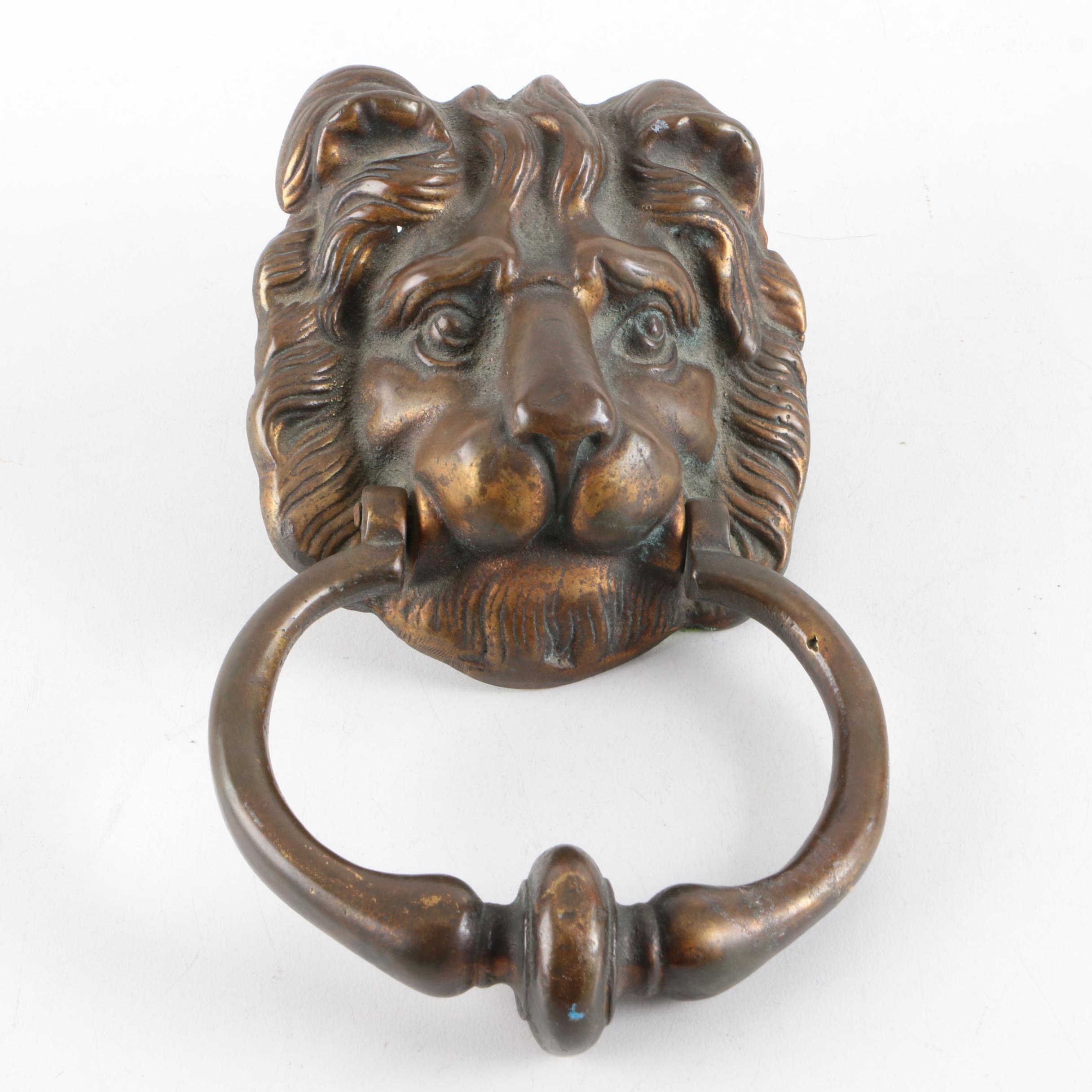 Cast Lion's Heads Door Knocker