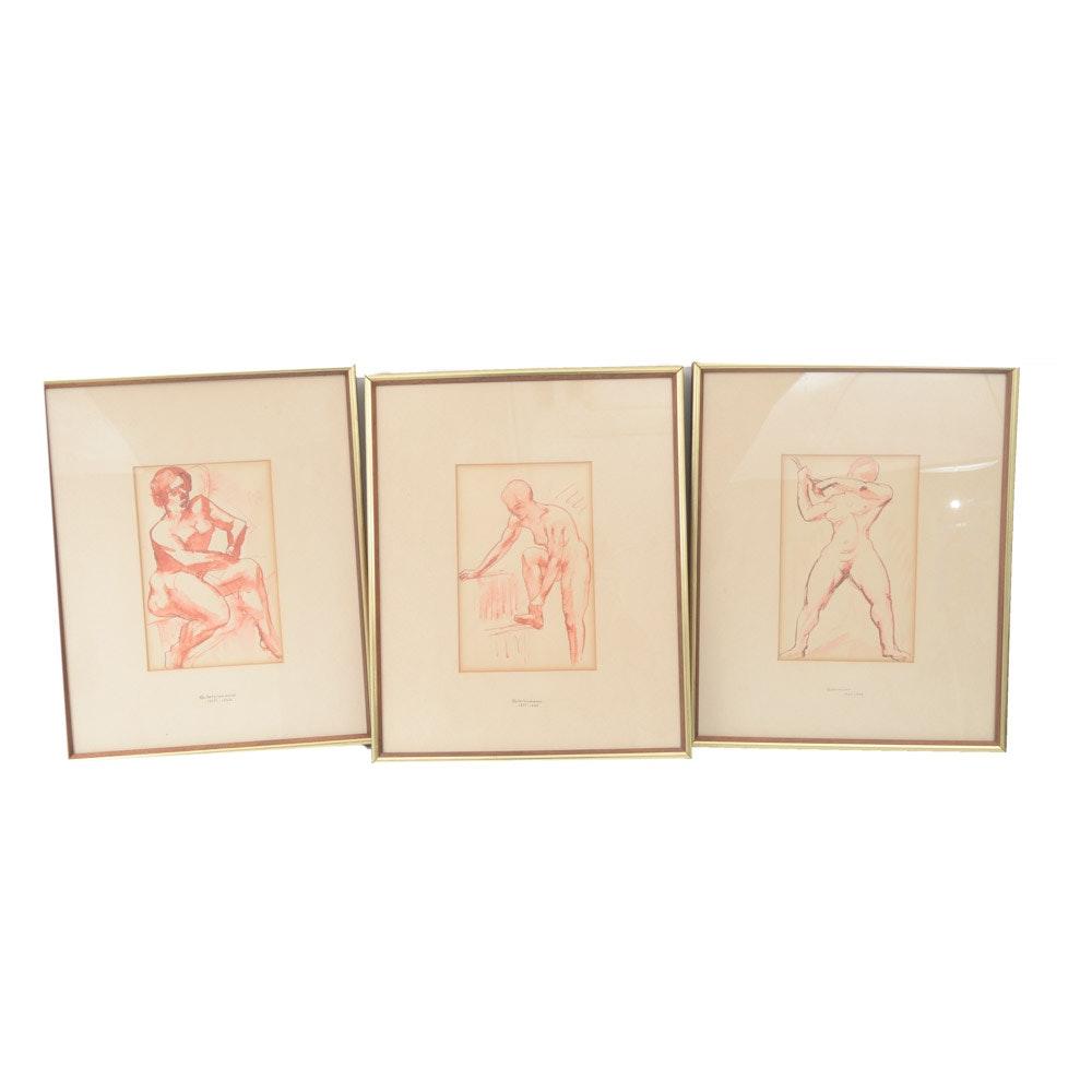 Henrik Glintenkamp Watercolor and Ink on Paper Figure Studies