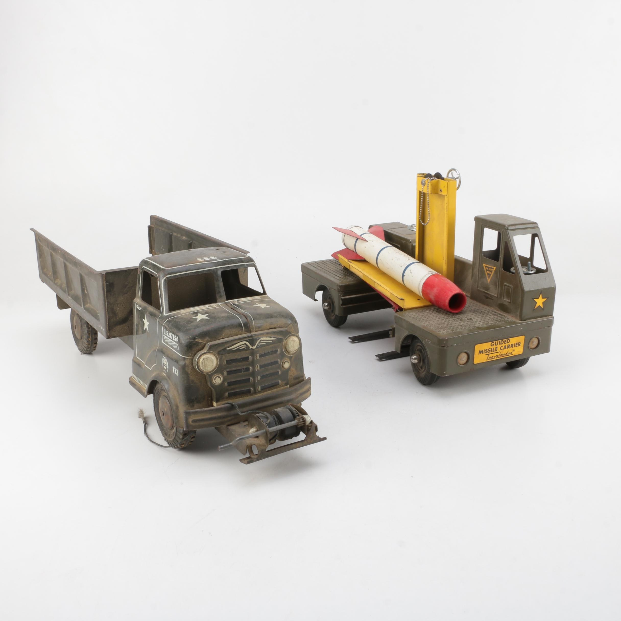 Vintage Pressed Steel Military Vehicles Including Marx and Nylint