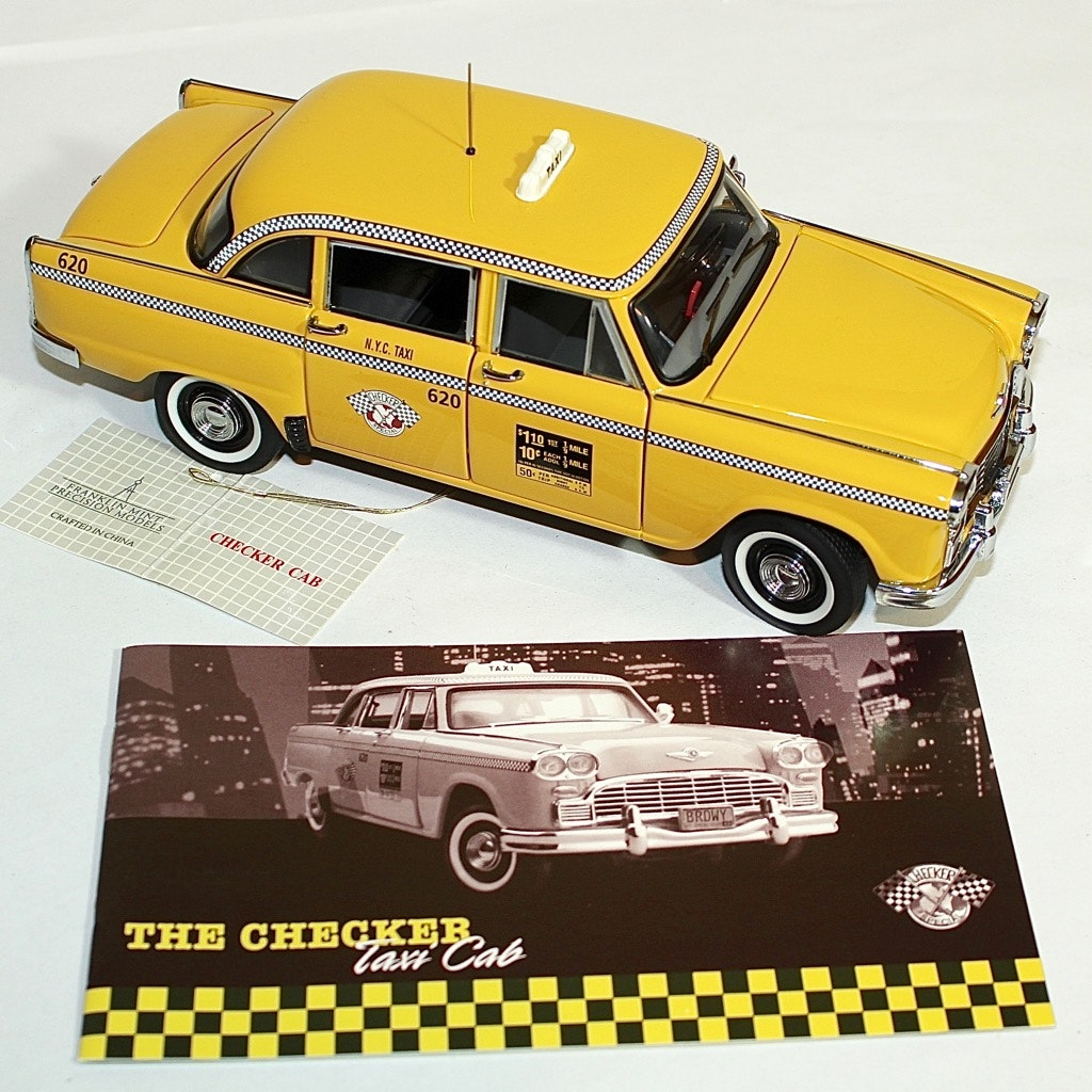 The Checker Taxi Cab Die Cast Car by The Franklin Mint