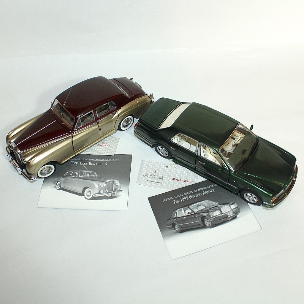 1955 Bentley S and 1998 Bentley Arnage Die Cast Cars by The Franklin Mint