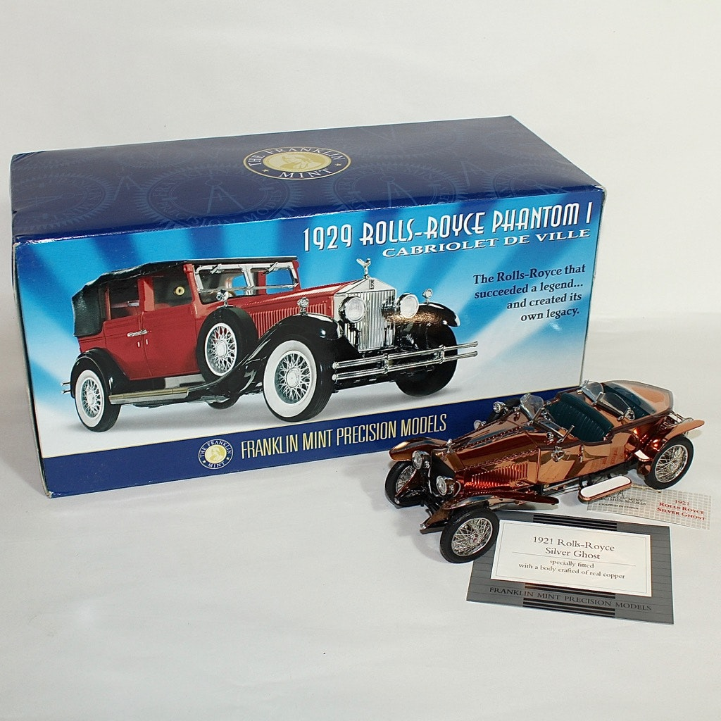 Rolls-Royce 1921 Silver Ghost and 1929 Phantom I Die Cast Cars by Franklin Mint