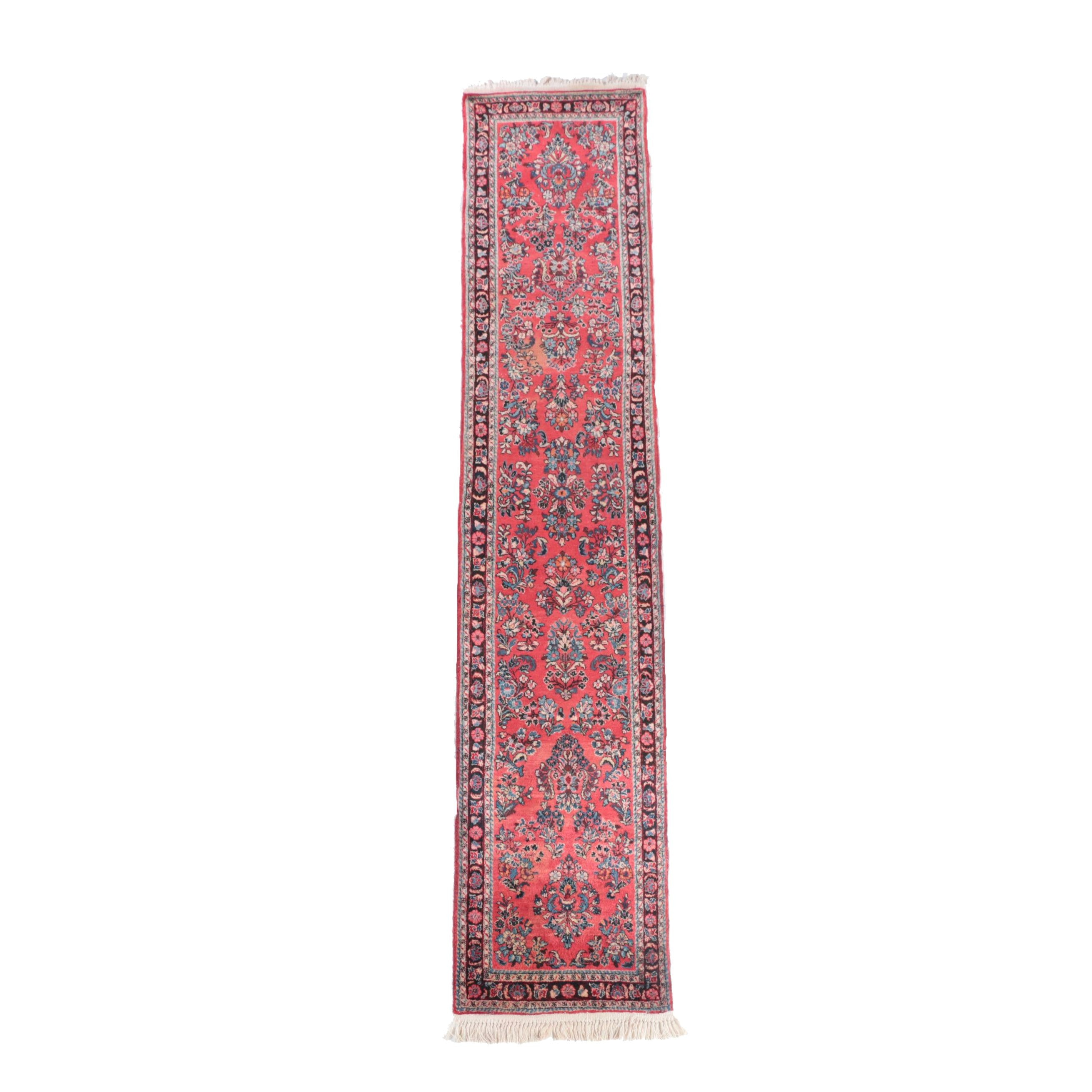 Hand-Knotted Persian Sarouk Wool Carpet Runner