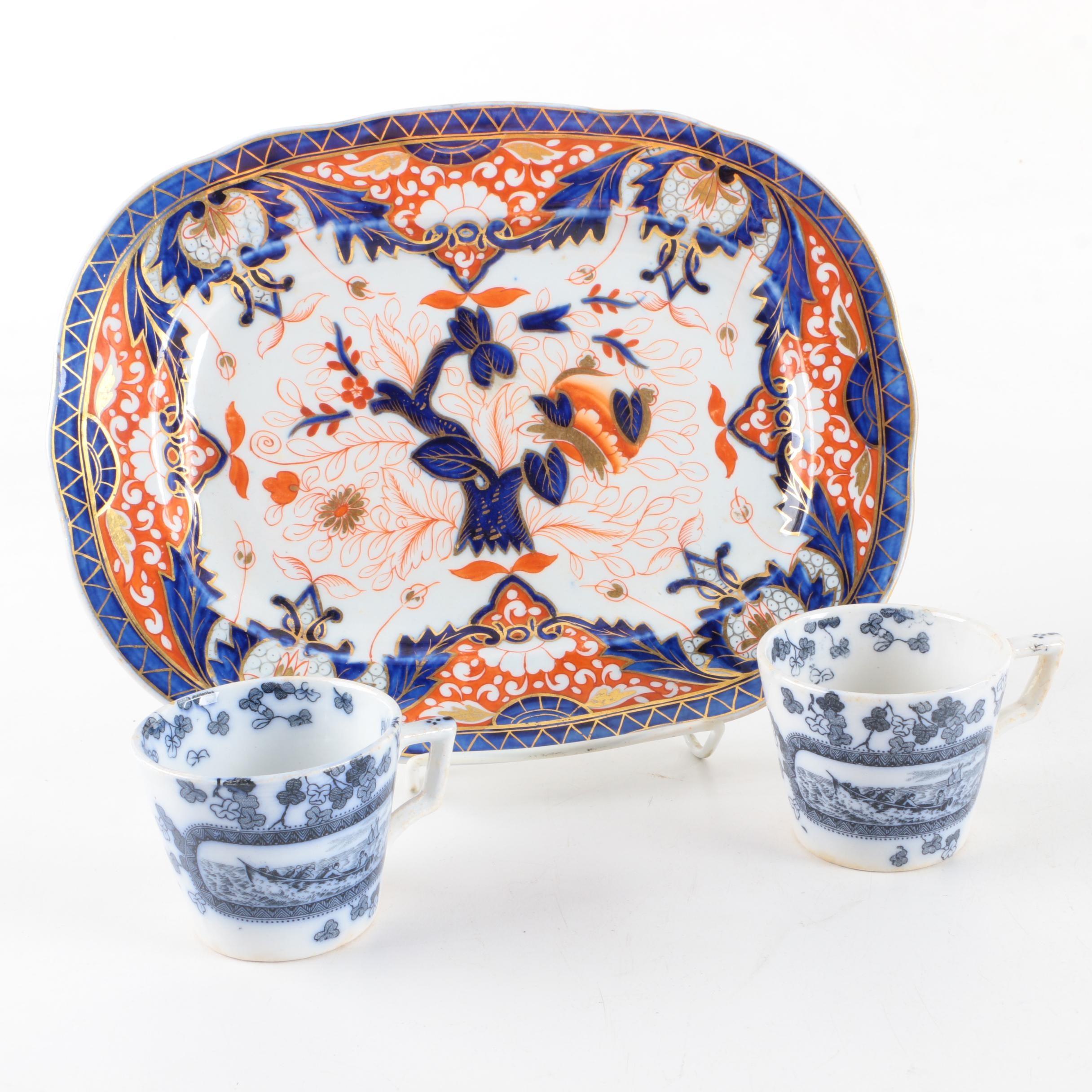 Antique English Tableware Including Imari Style Tray