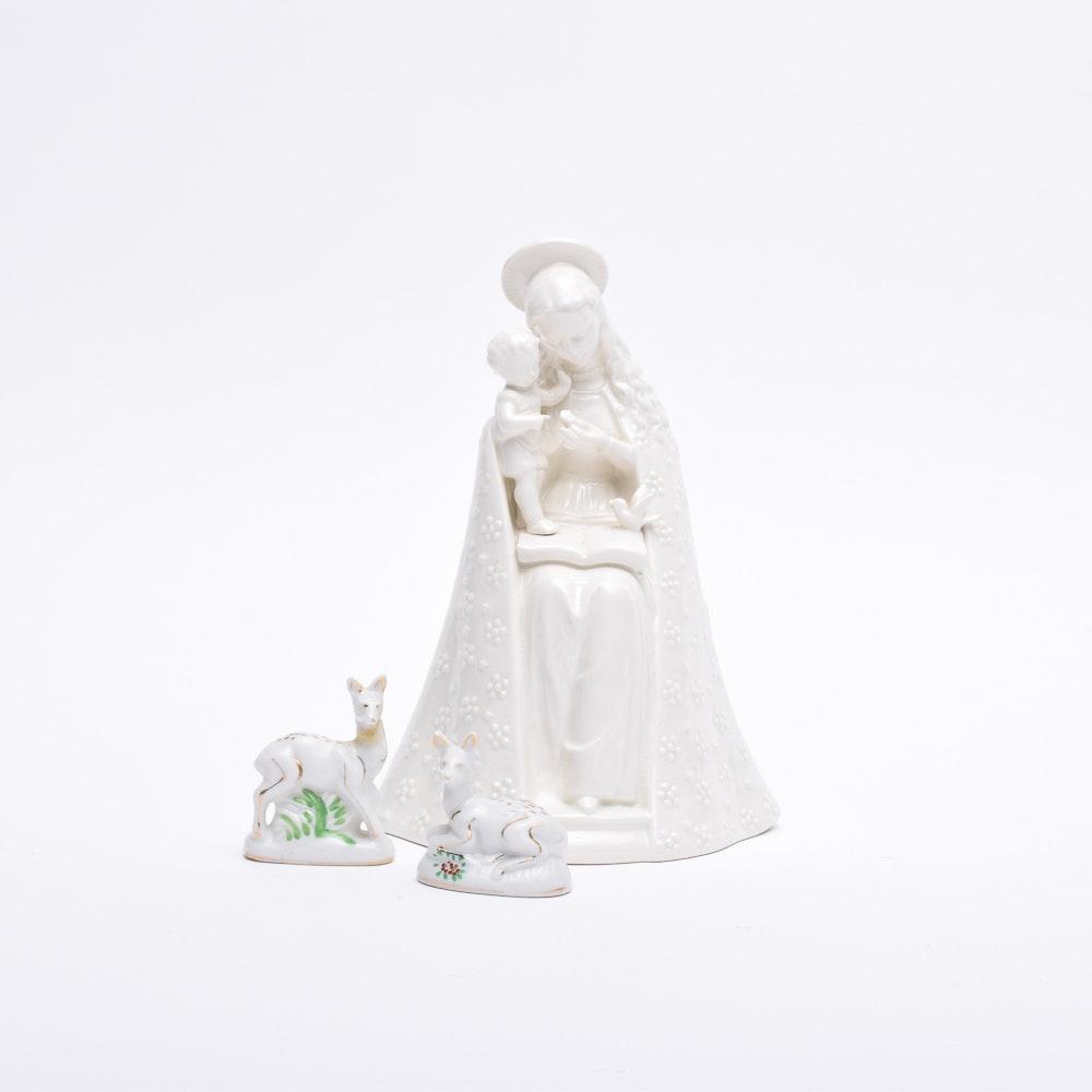 "Hummel ""Flower Madonna"" and Ceramic Fawns"