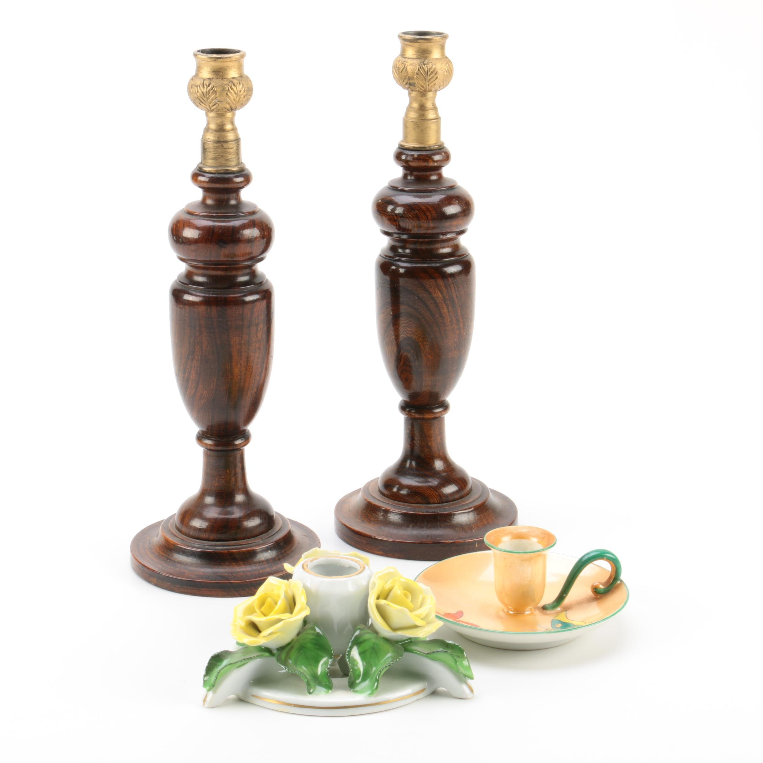 Porcelain and Wooden Candle Holders Featuring Herend and Noritake