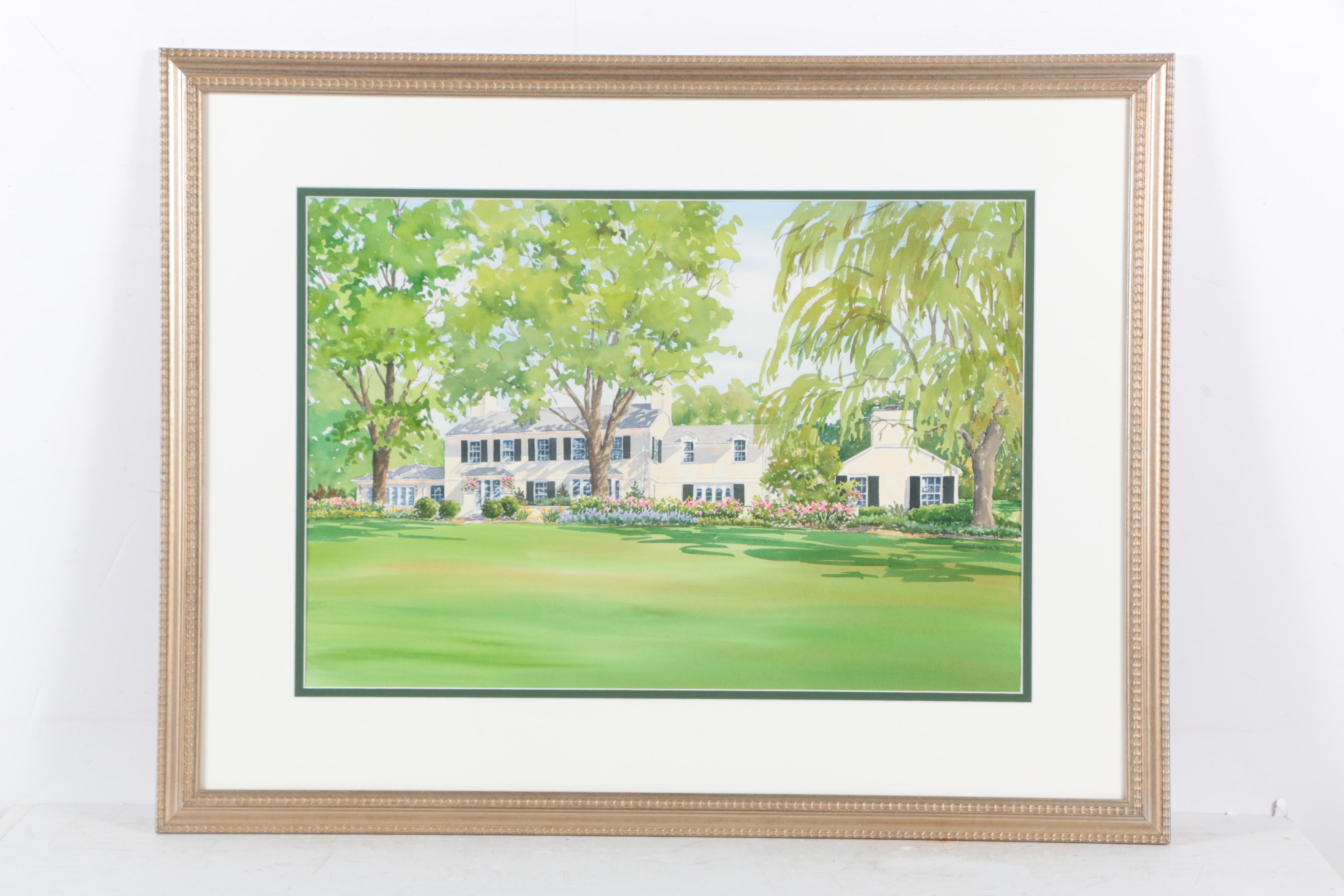 Jean Merrick Maddux Watercolor Painting of a House