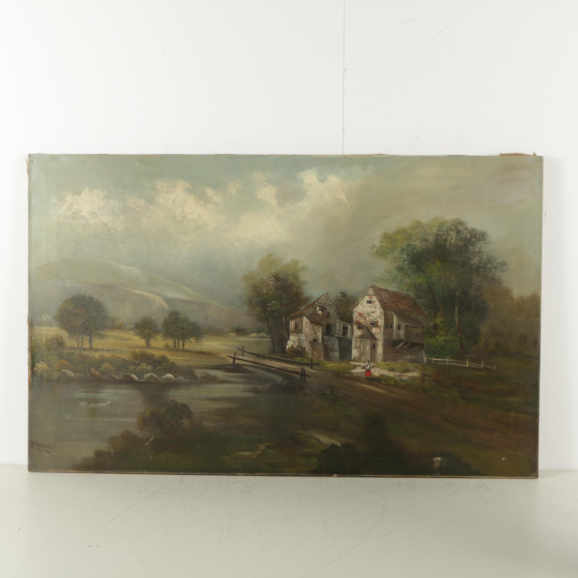 Fimfeld Antique Oil Painting on Canvas of a Pastoral Scene