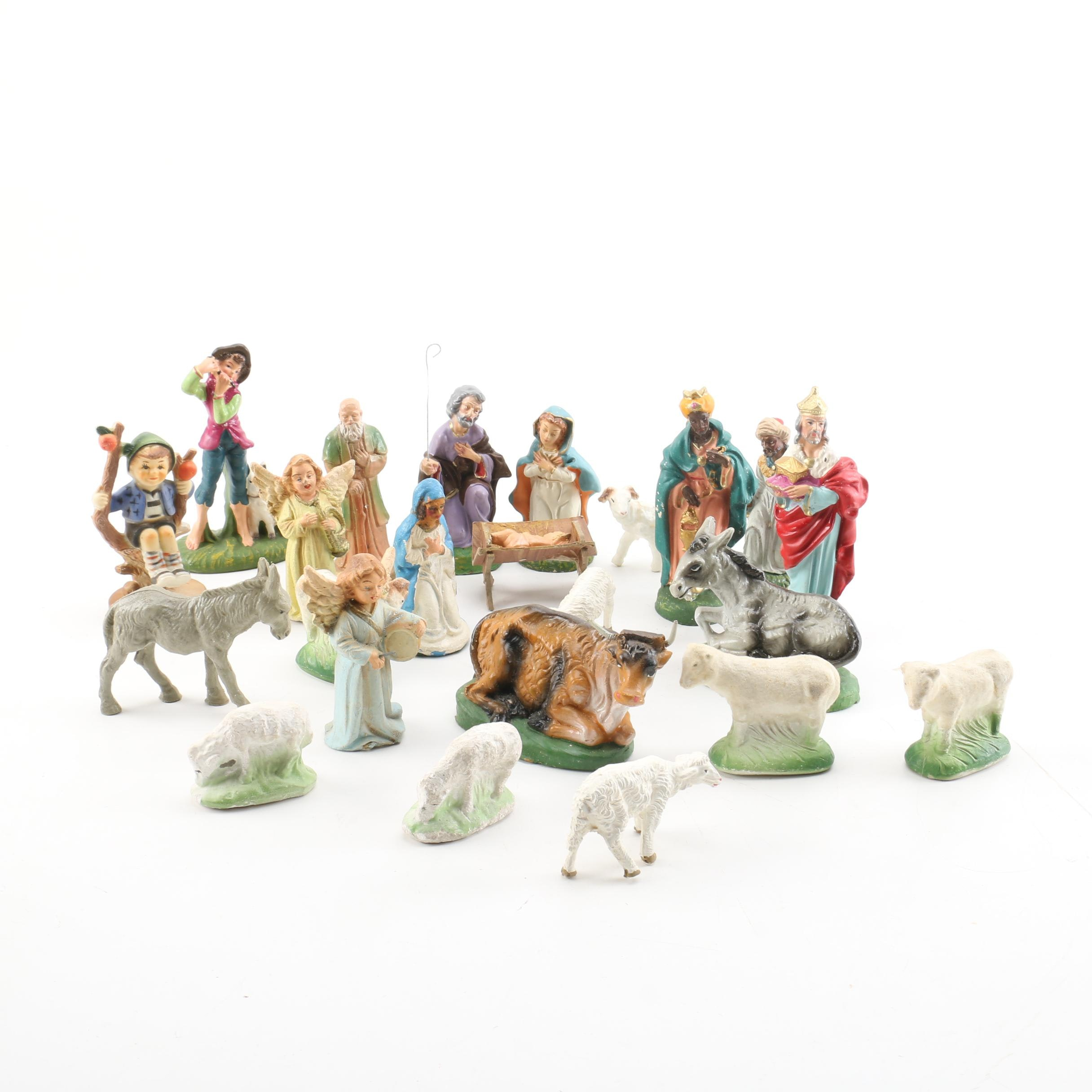 Nativity Scene with Various Figurines