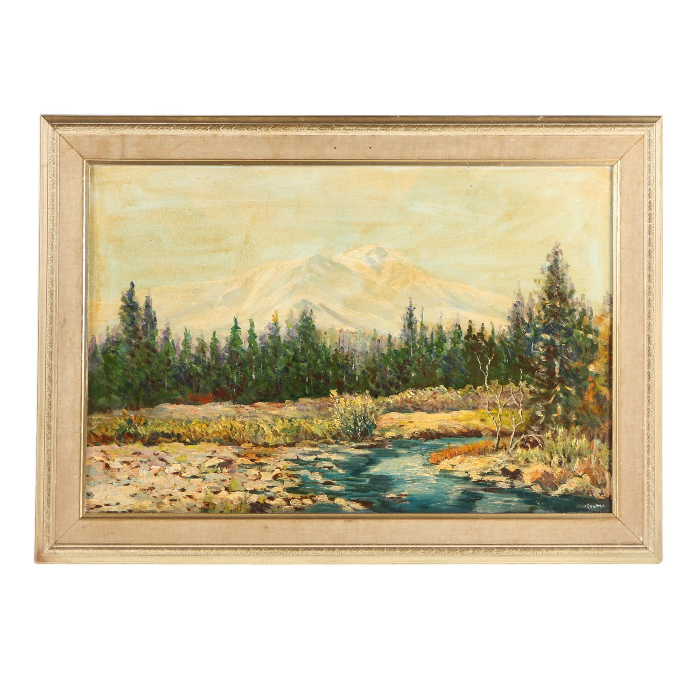 Crum Oil Painting on Masonite Mountainous Landscape