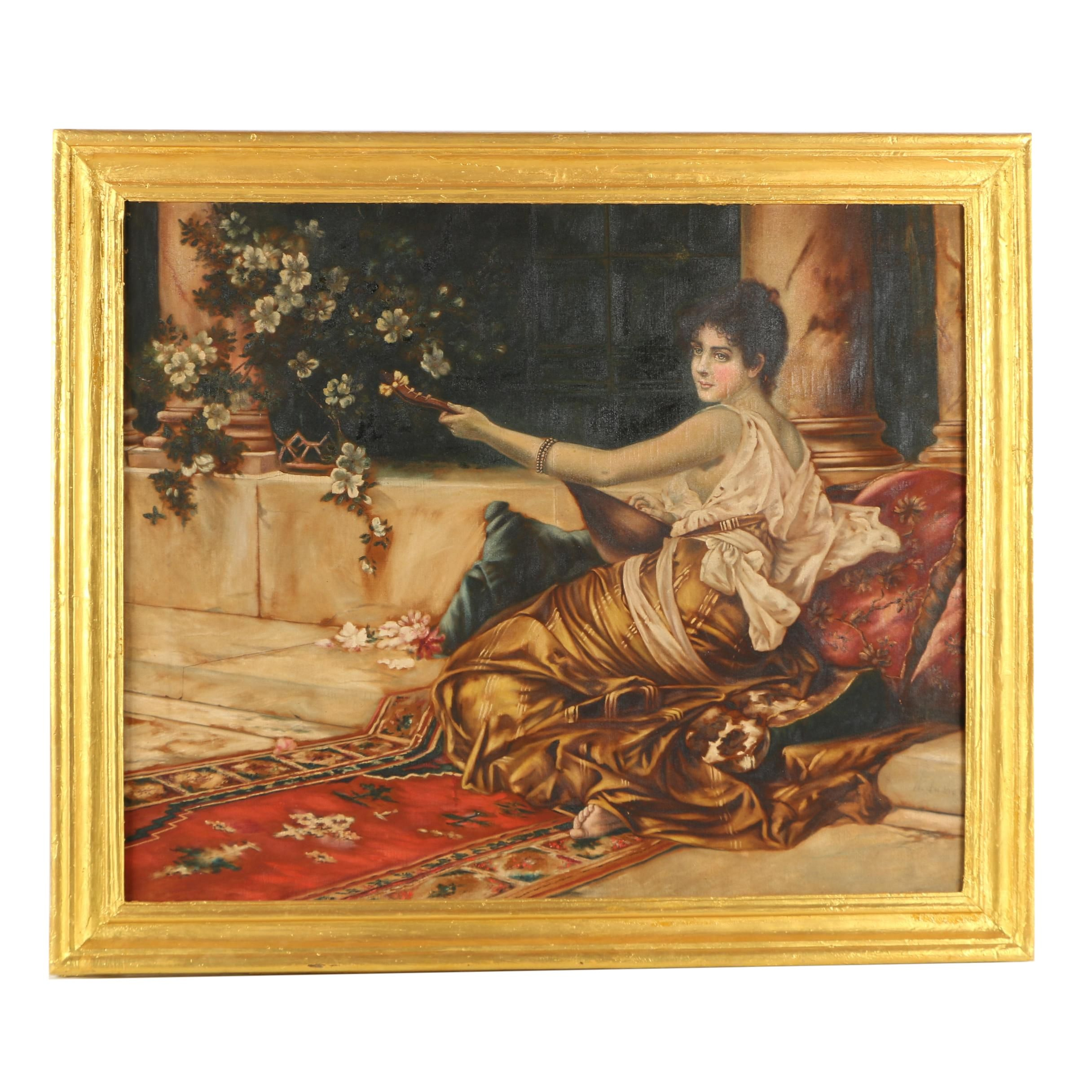H. DuBois Copy Oil Painting on Fabric After Conrad Kiesel of Woman Playing Lute