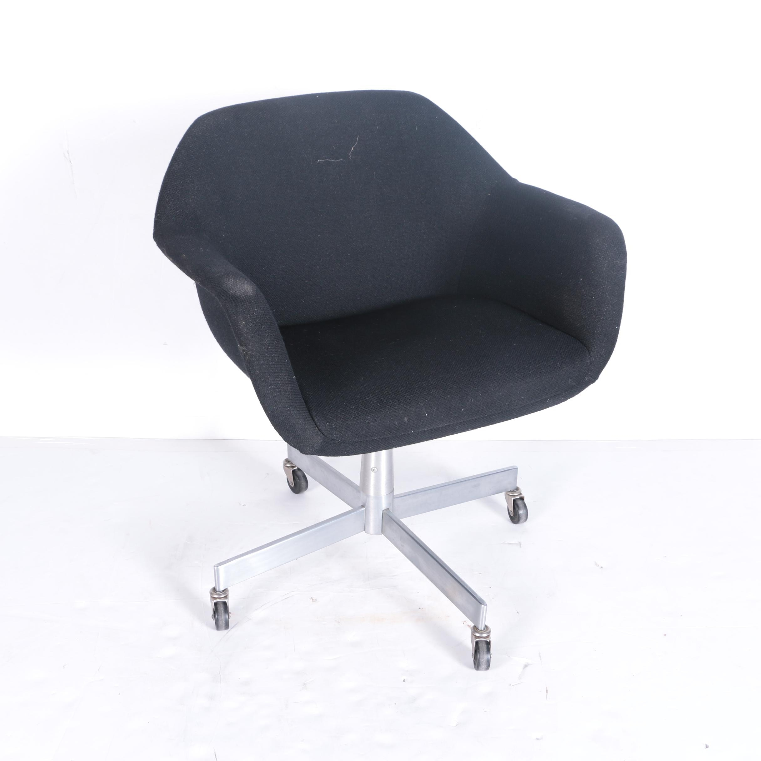 Mid Century Modern Style Black Upholstered Office Chair