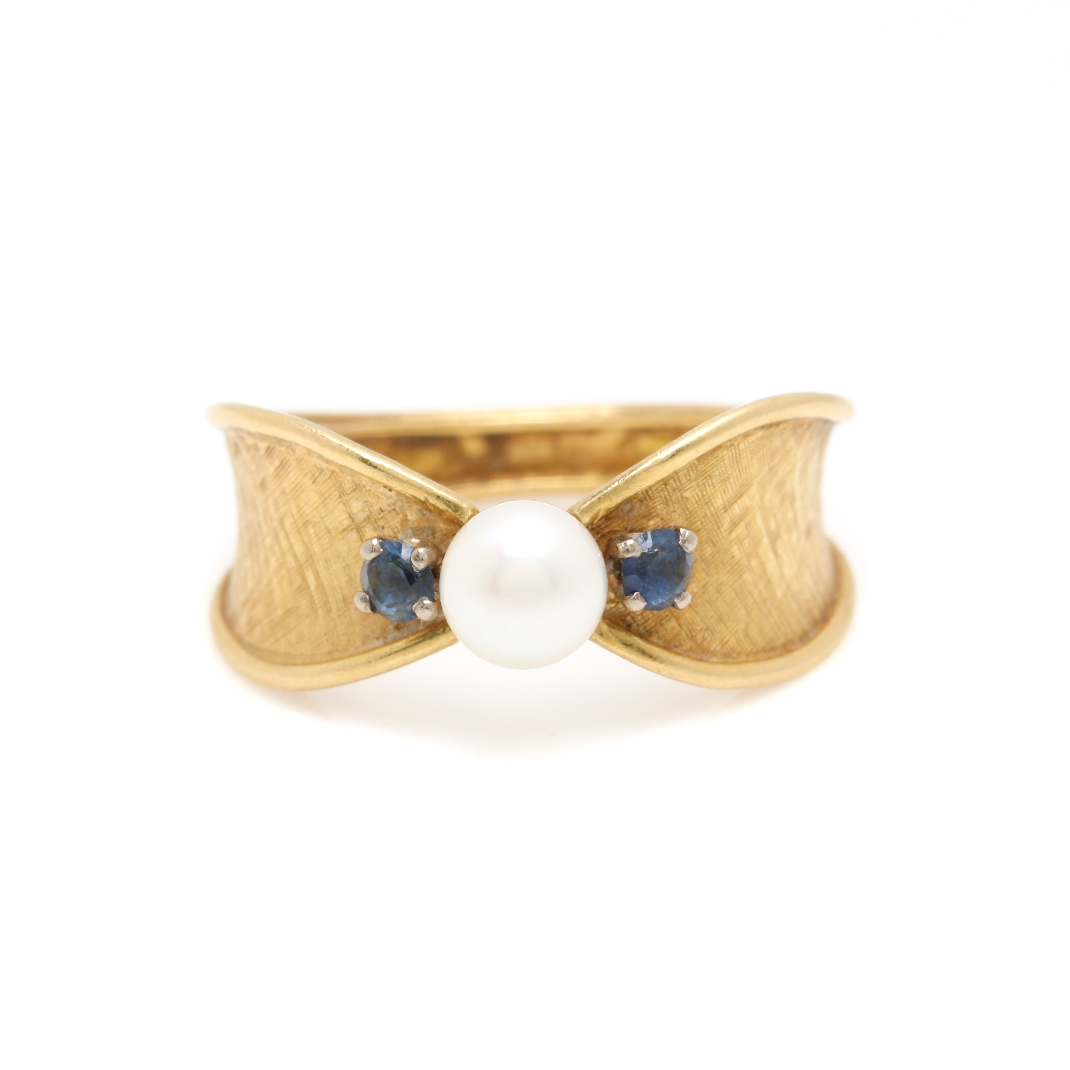 18K Yellow Gold Cultured Pearl and Sapphire Ring