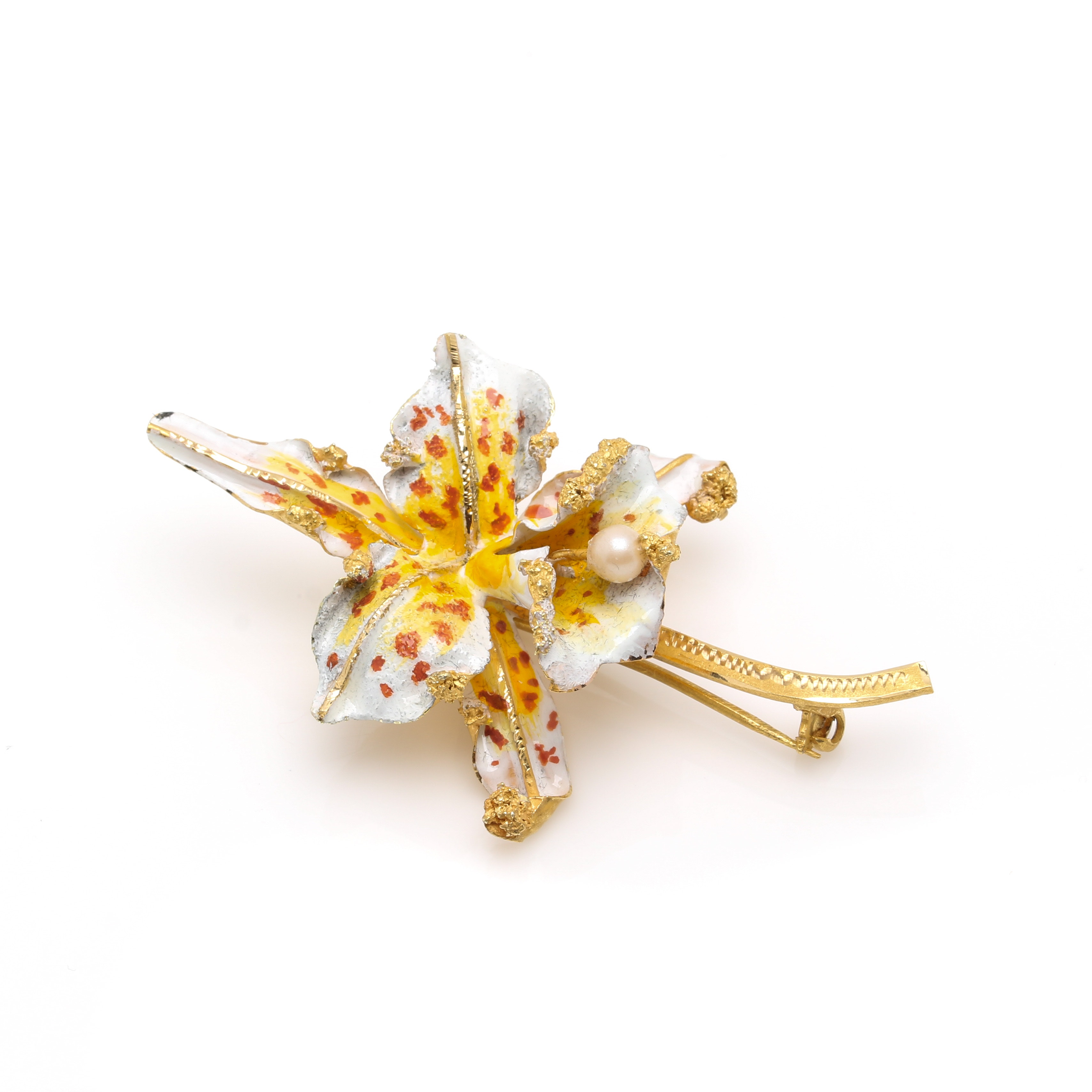 18K Yellow Gold Imitation Pearl Orchid Brooch