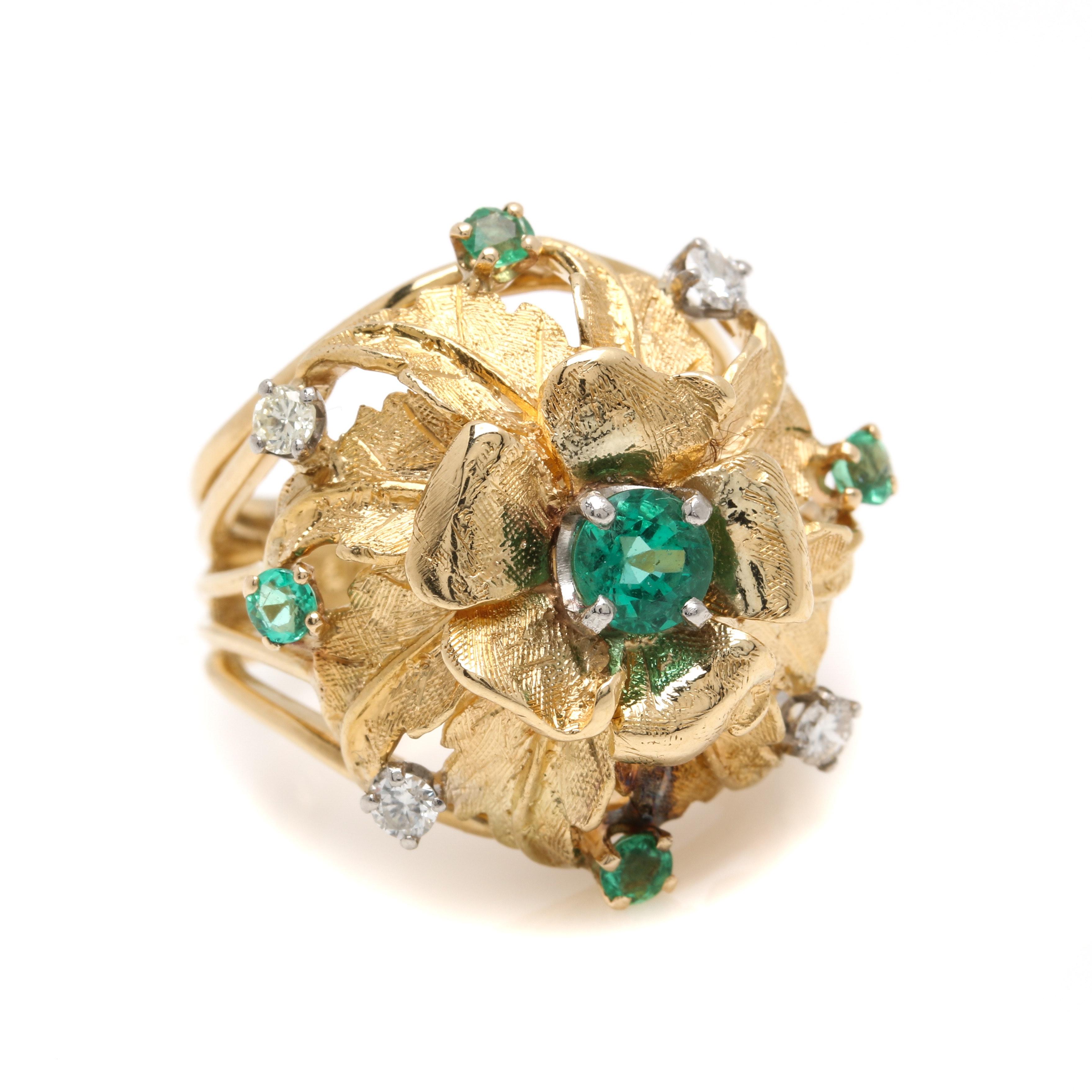 10K Yellow Gold Emerald and Diamond Flower Ring