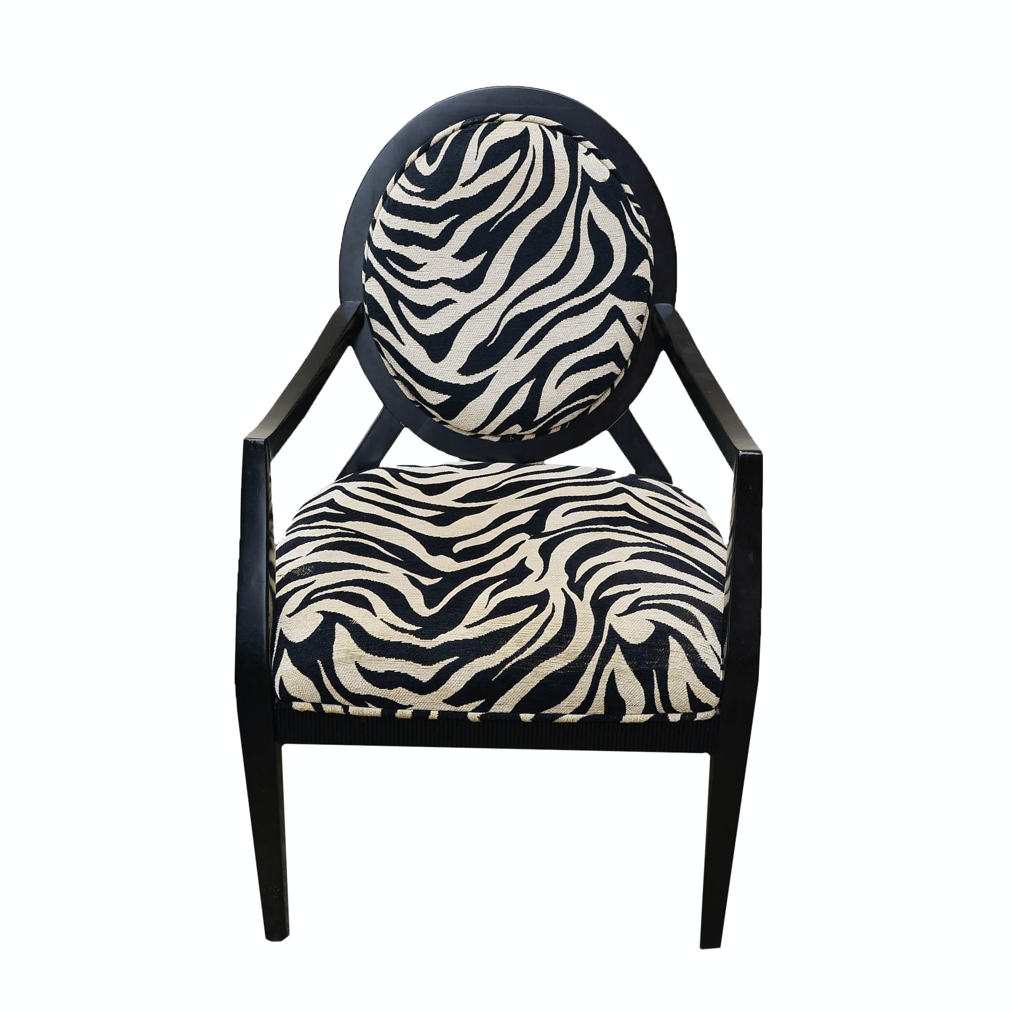 Contemporary Zebra Print Arm Chair ...