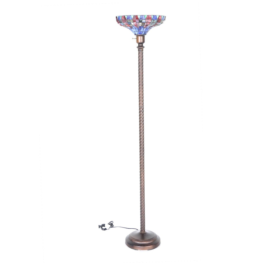 Stained Gl Torchiere Floor Lamp