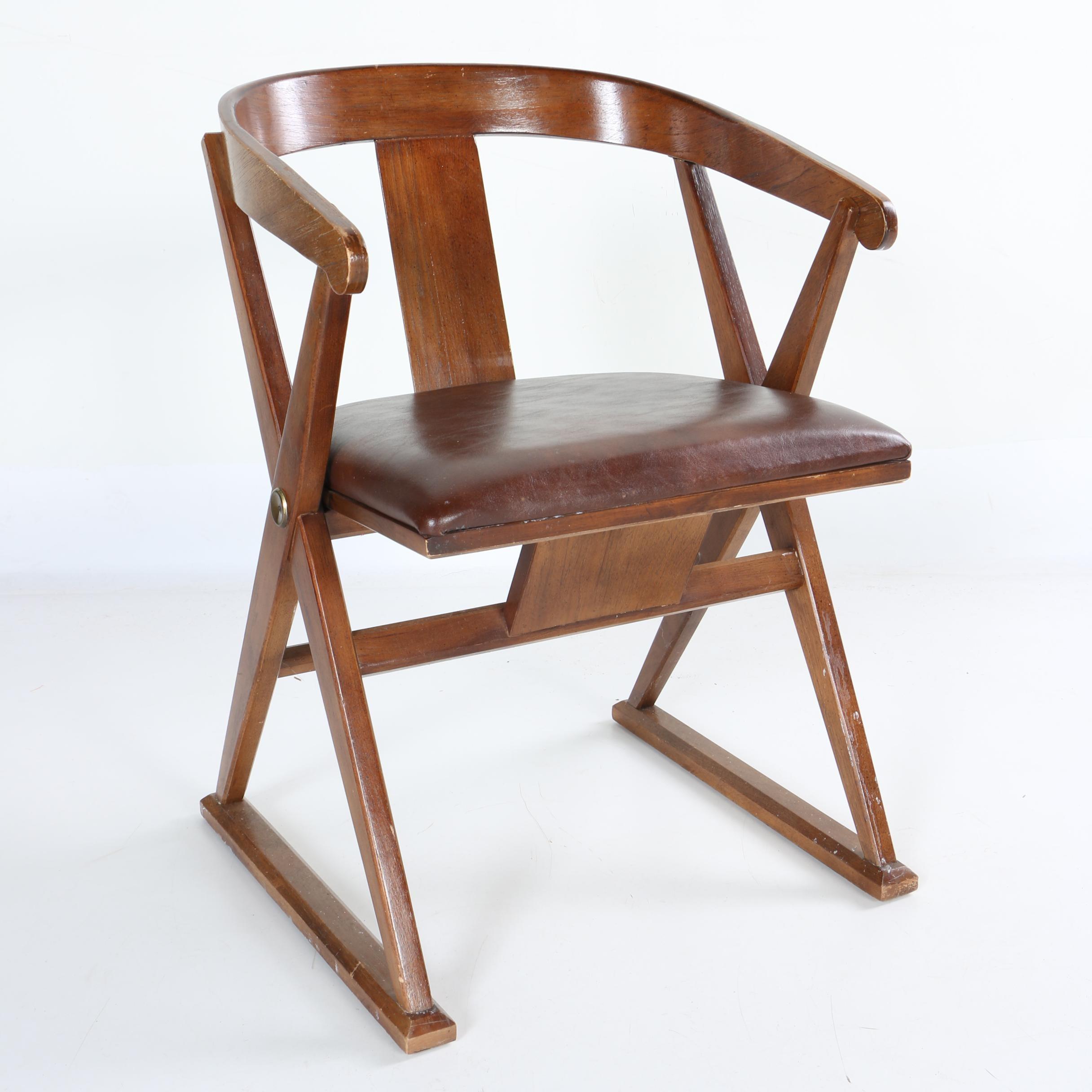 Mid-Century Open Frame Barrel Armchair