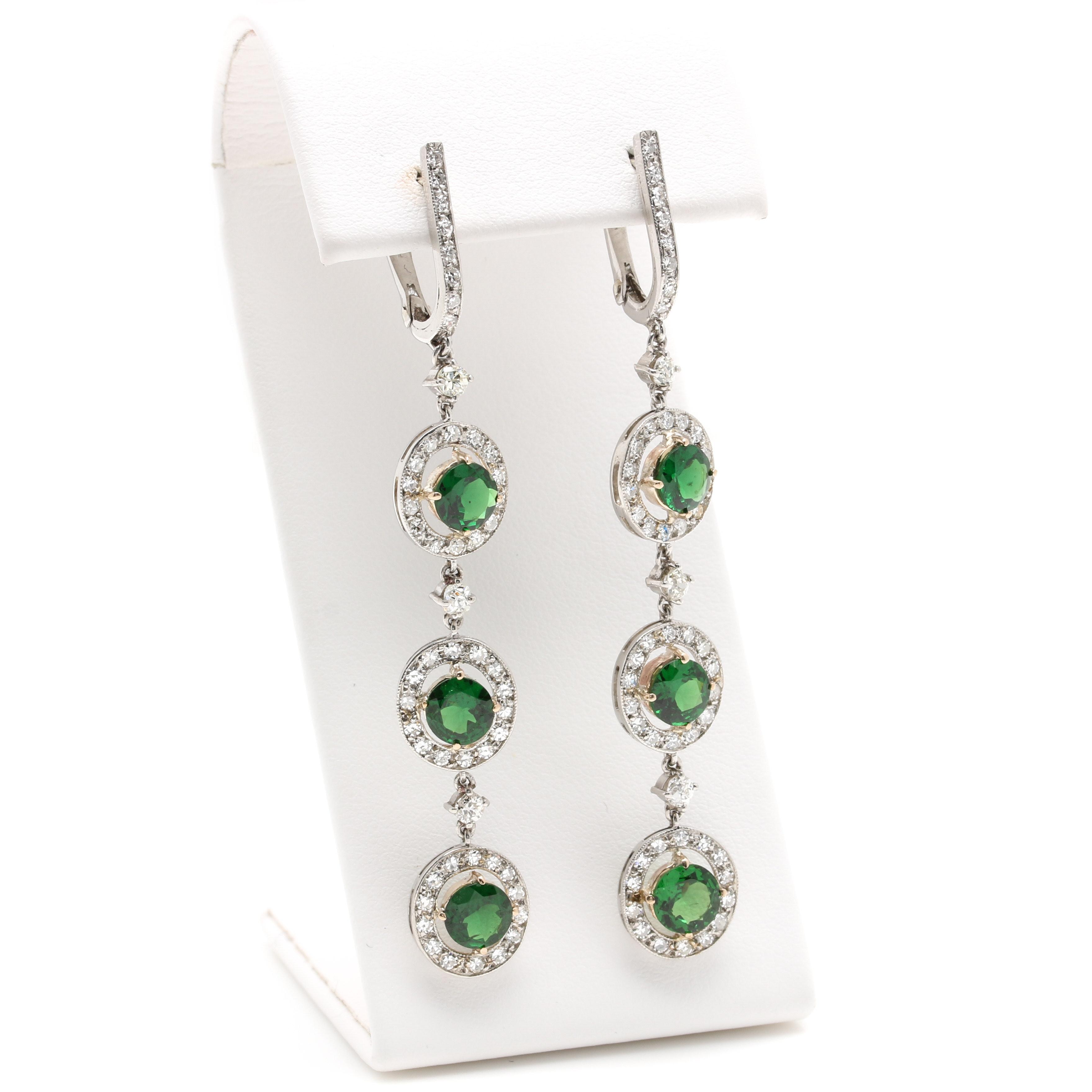 Platinum and 14K Yellow Gold Szavorite Garnet and 1.66 Diamond Dangle Earrings