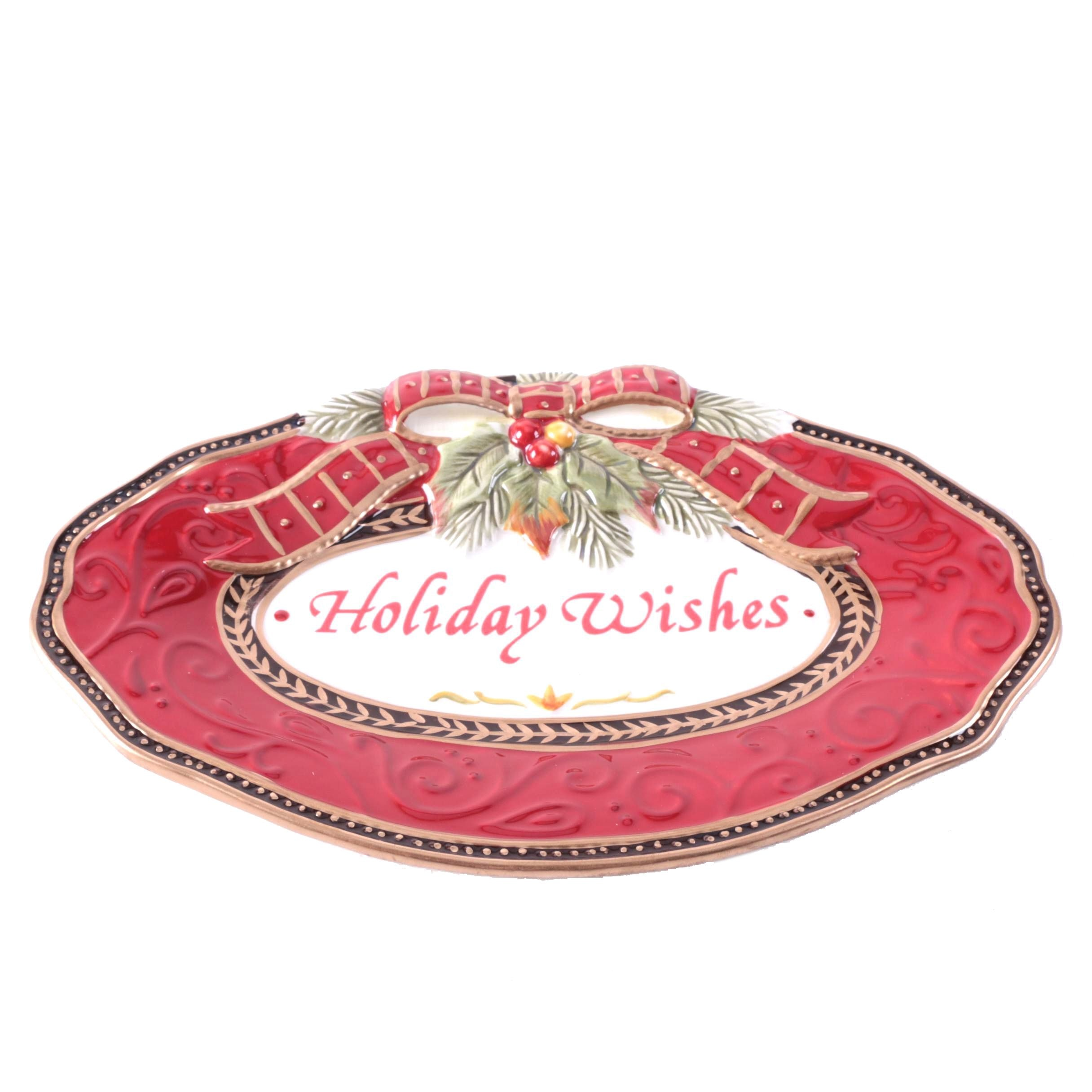 Fitz and Floyd Damask Holiday Sentiment Tray