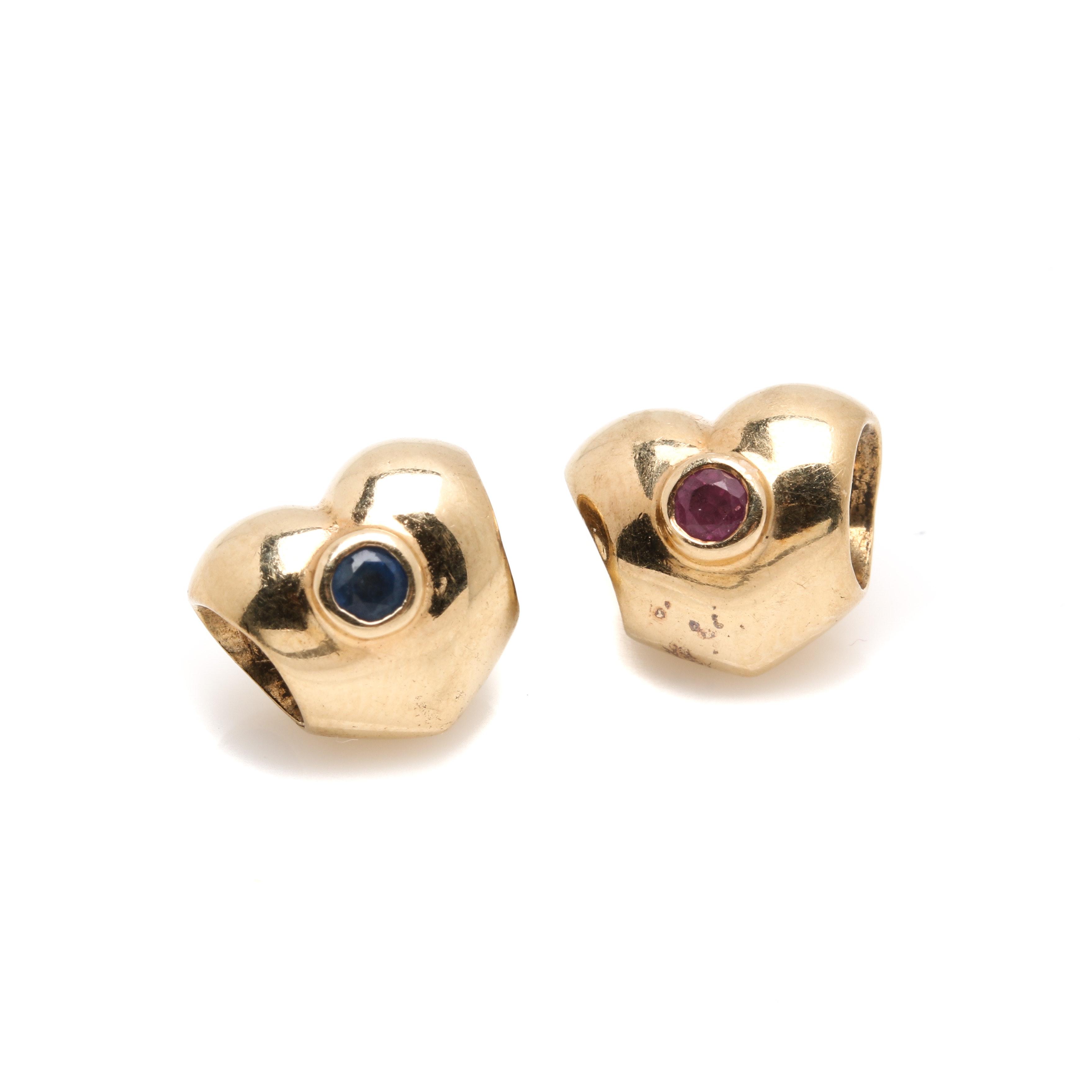 Pandora 14K Yellow Gold Ruby and Sapphire Beads
