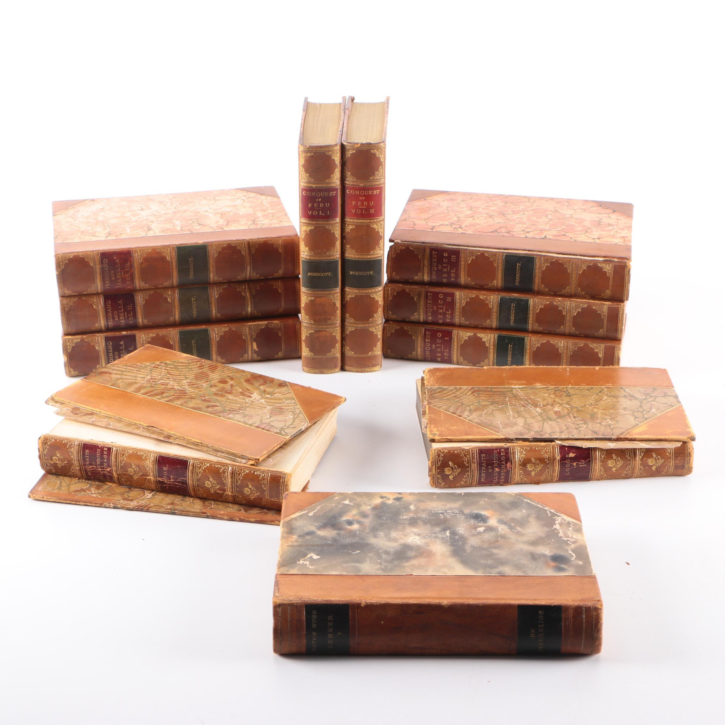 "Antique Books Including 1893 ""Conquest of Mexico"" by William H. Prescott"