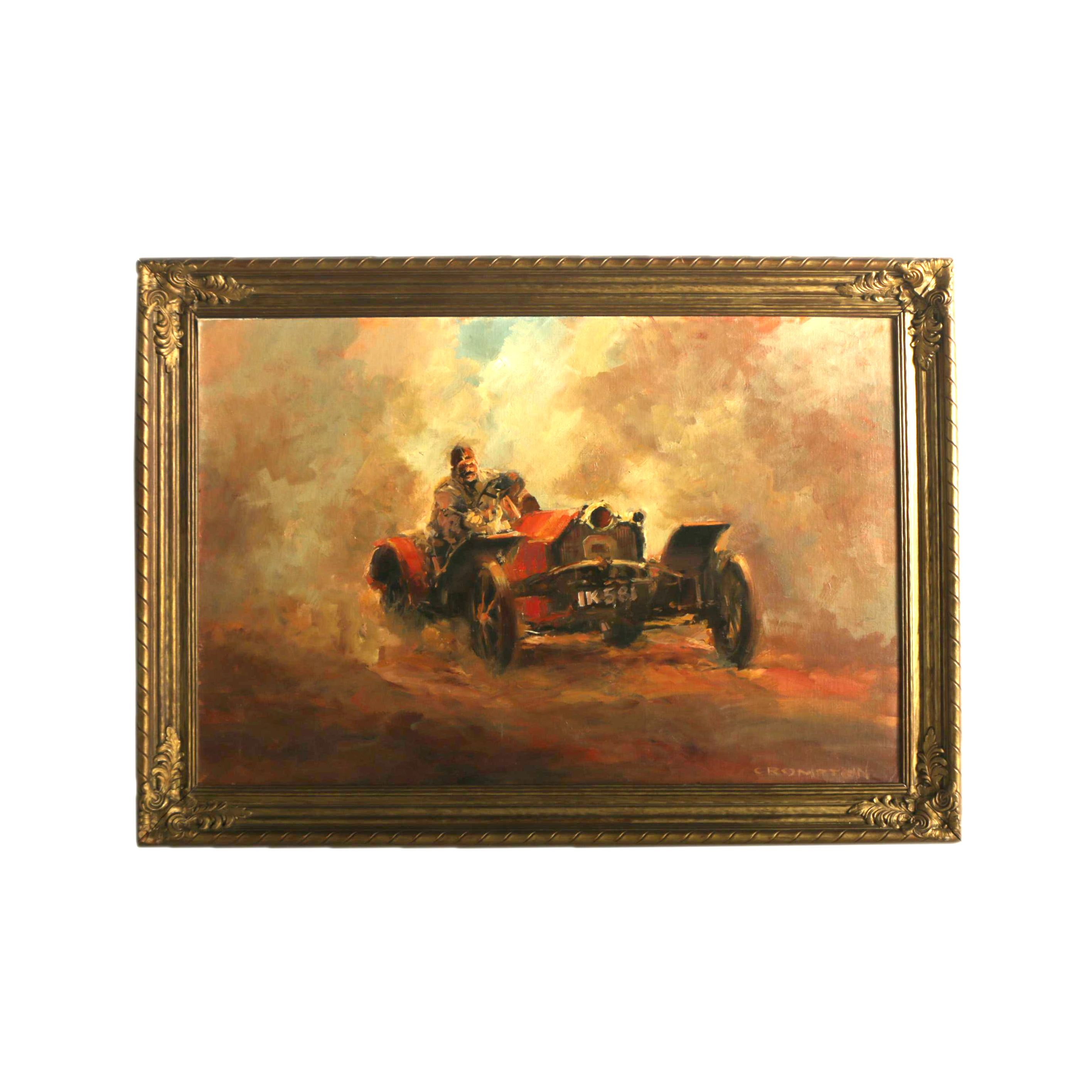 Jim Crompton Oil Painting on Canvas Board of Auto Racer