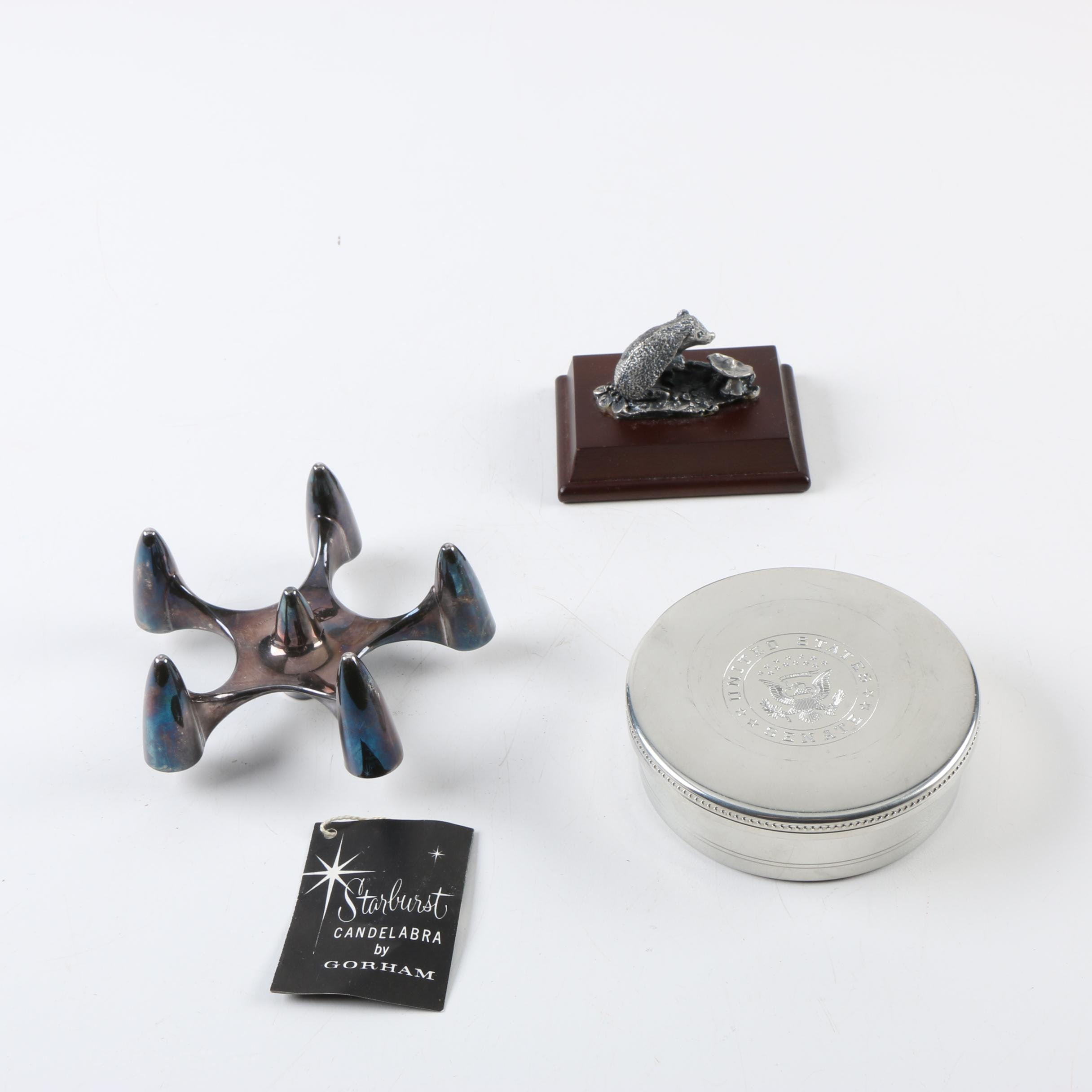 "Salisbury Pewter Trinket Box and Gorham Silver Plate ""Starburst"" Candle Holder"