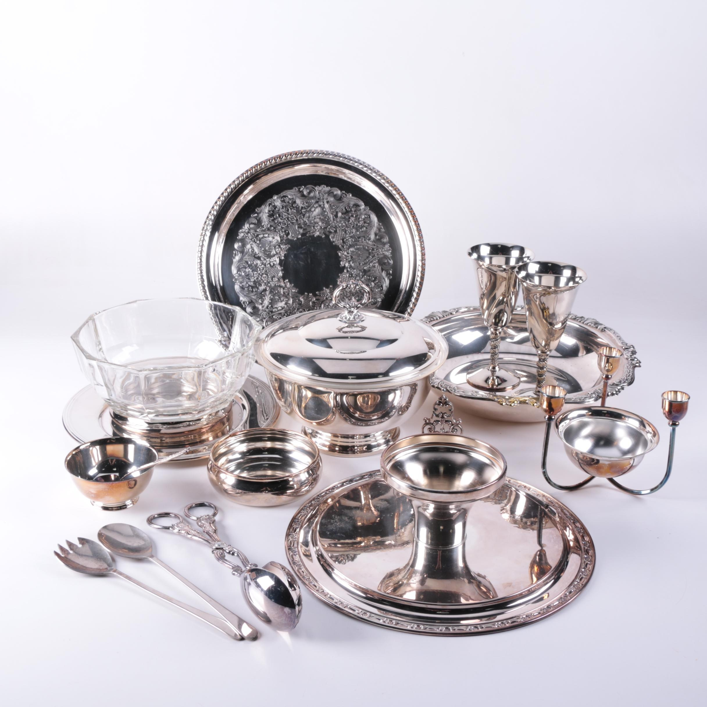 FB Rogers Silver Plate Goblets and Assorted Silver Plate Serveware