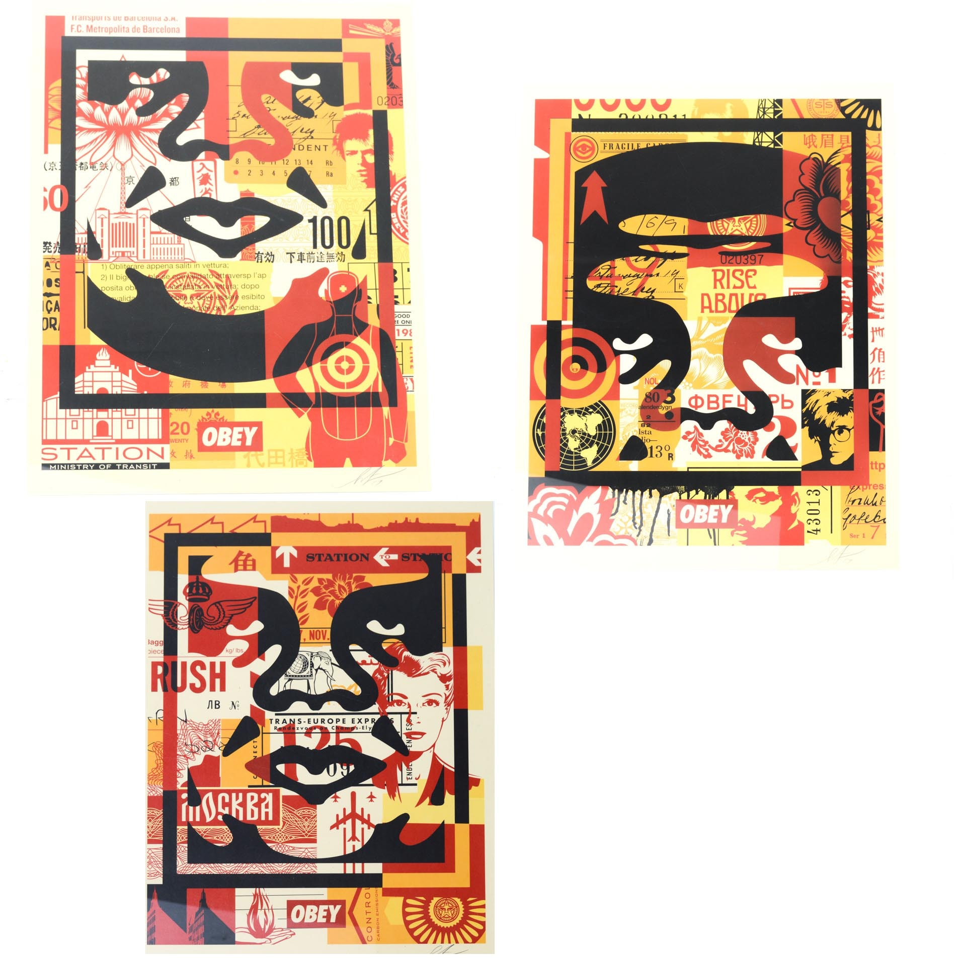 "Shephard Fairey Offset Print Triptych ""Andre the Giant"" Open Edition"