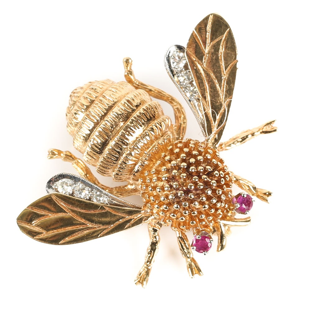 14K Yellow Gold, Diamond and Ruby Queen Bee Brooch