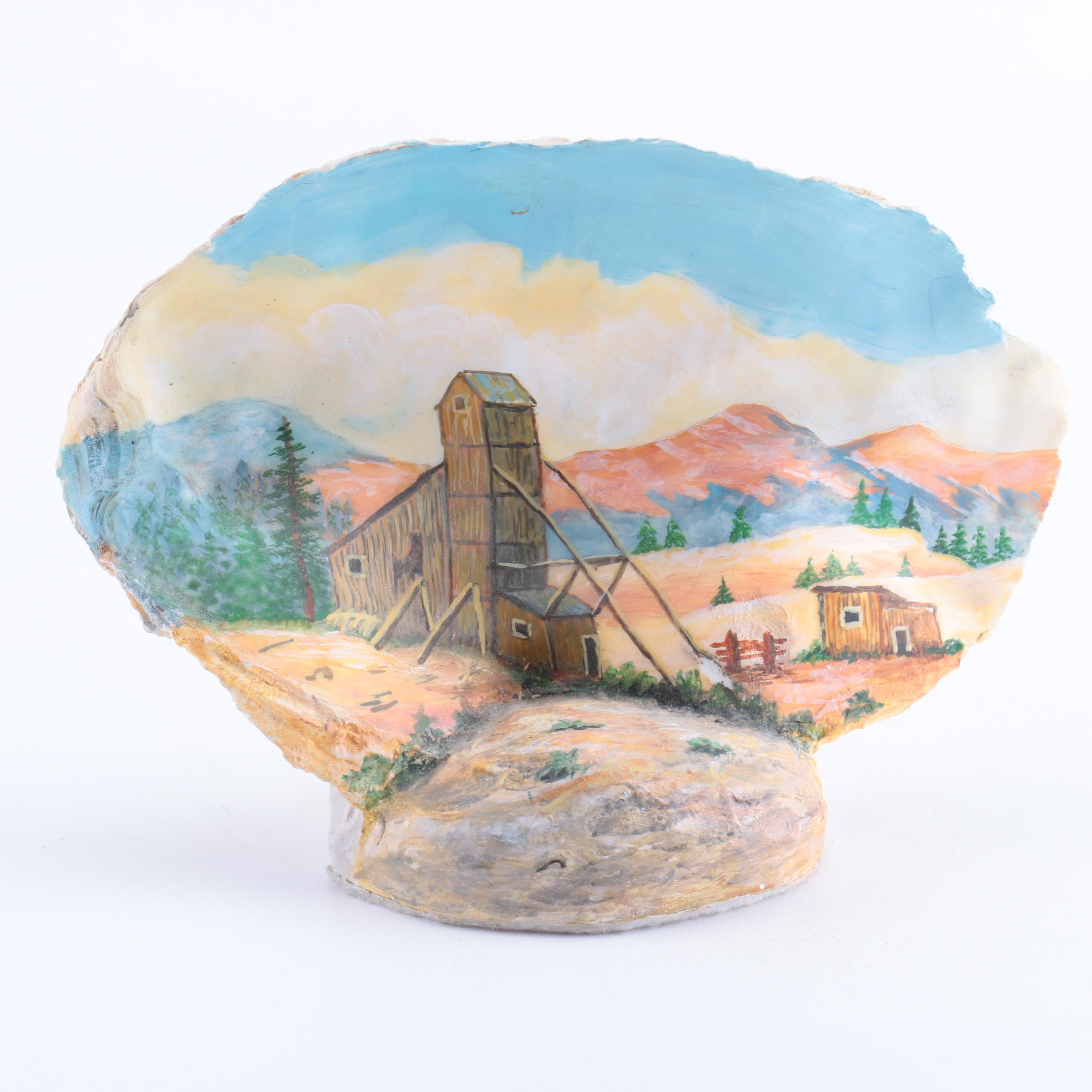 Artist Signed Painted Scene on a Shell