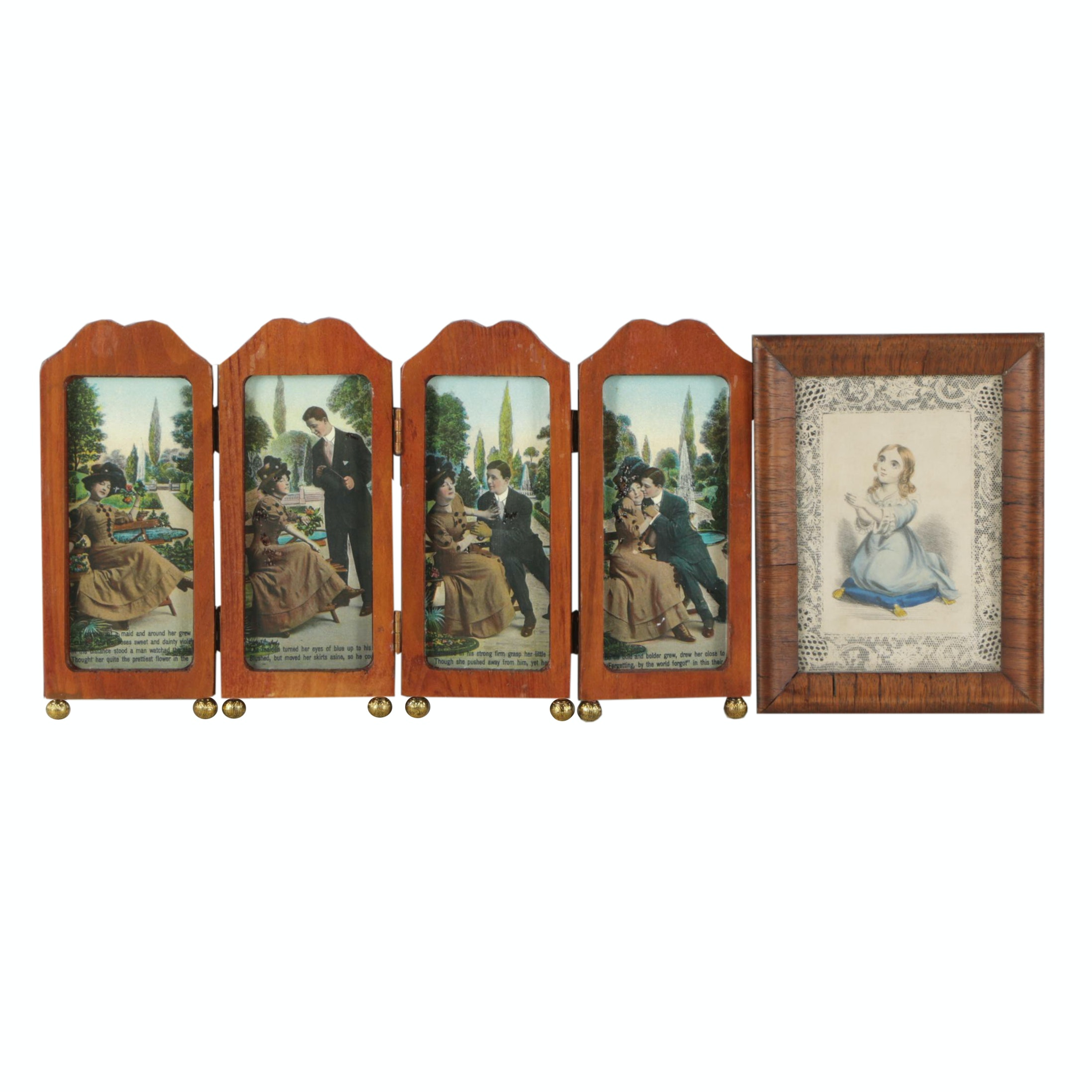 Hand-Colored Lithograph and Offset Lithographs in Folding Frame