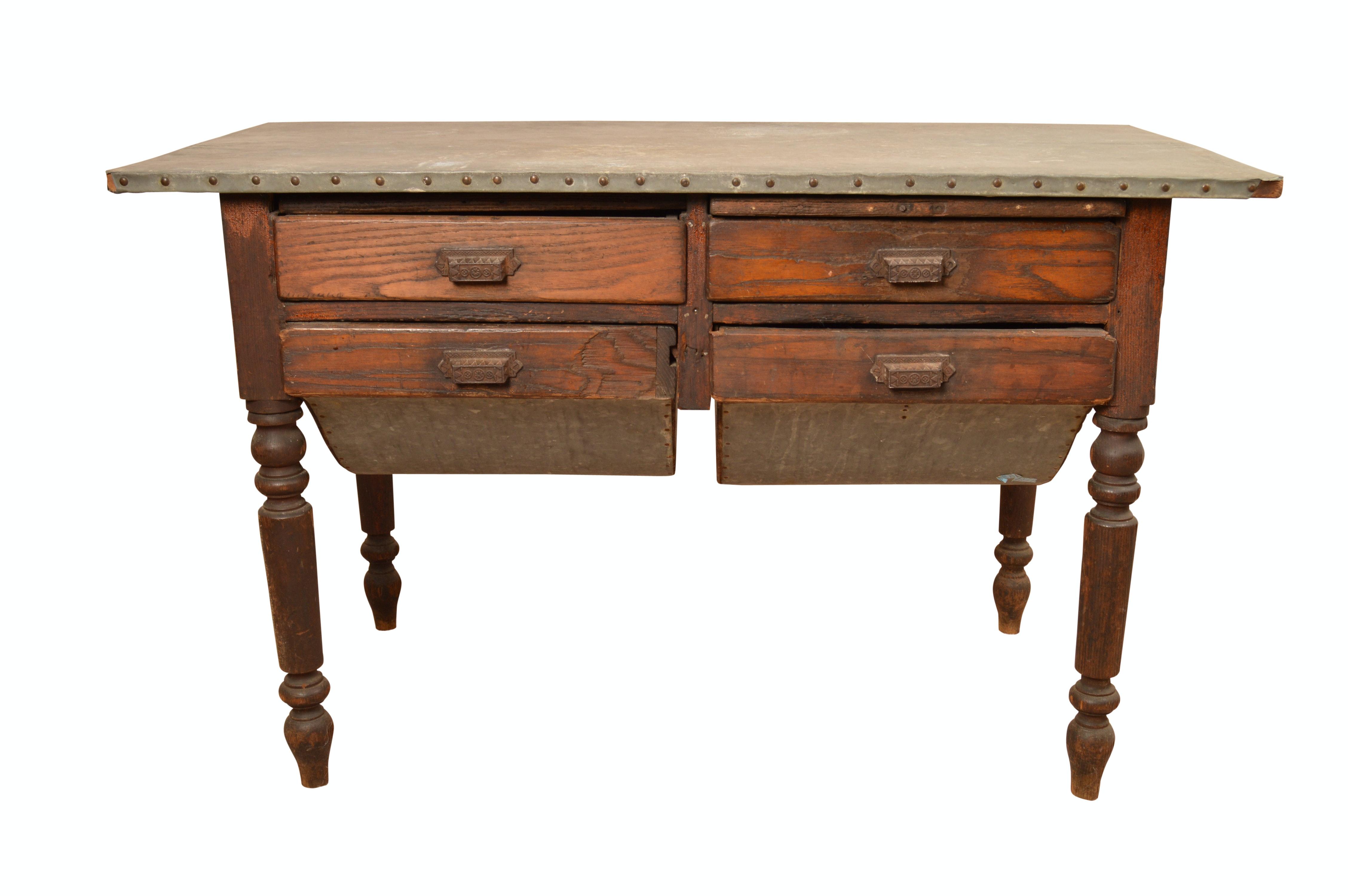 Antique Oak Baker's Table