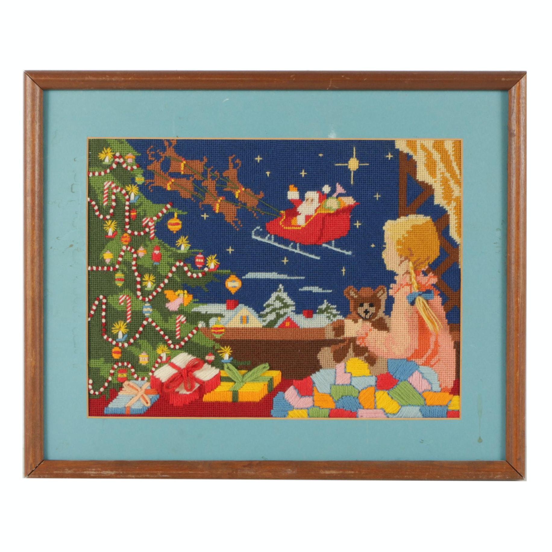 Framed Christmas Themed Pictorial Needlepoint