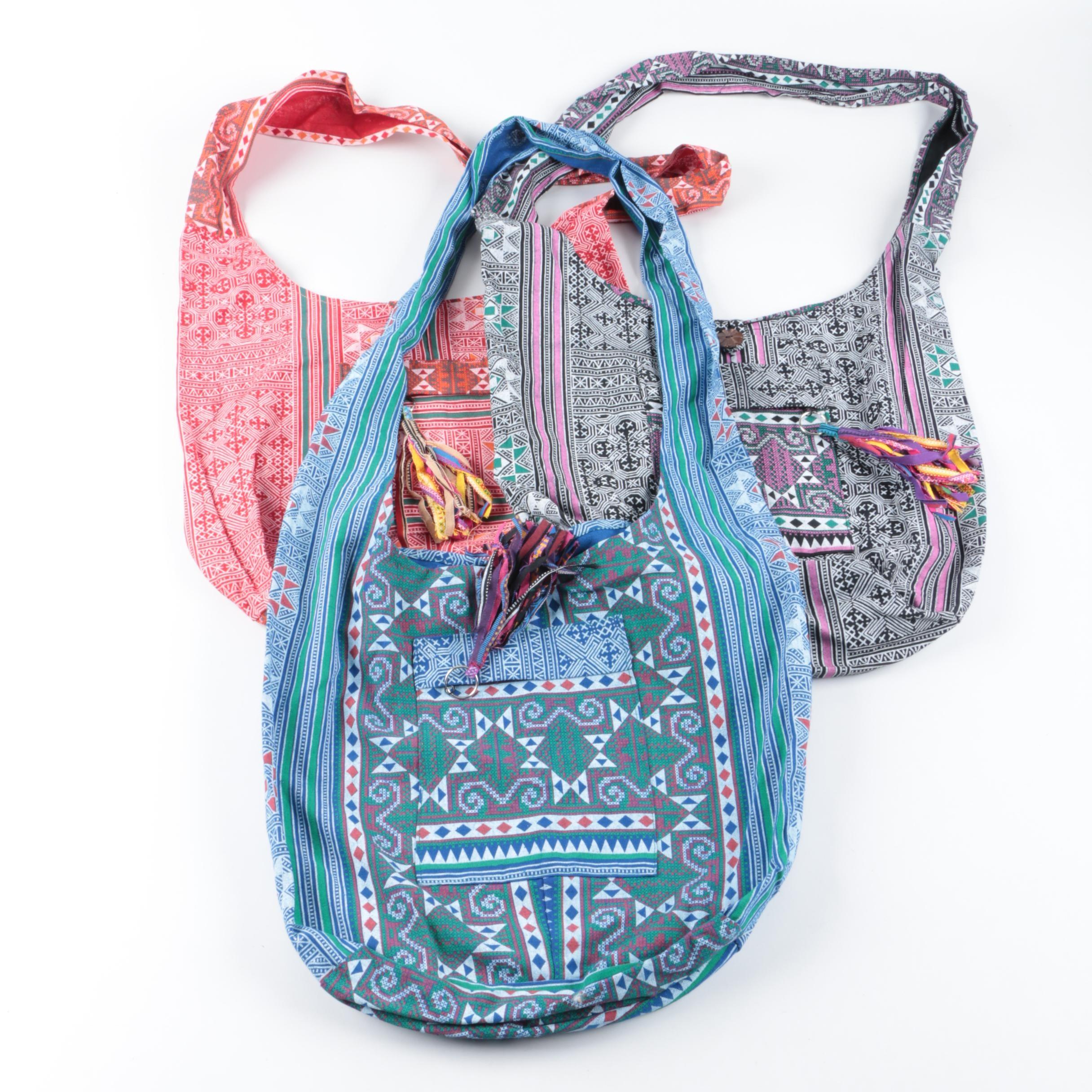 Printed Woven Canvas Crossbody Handbags