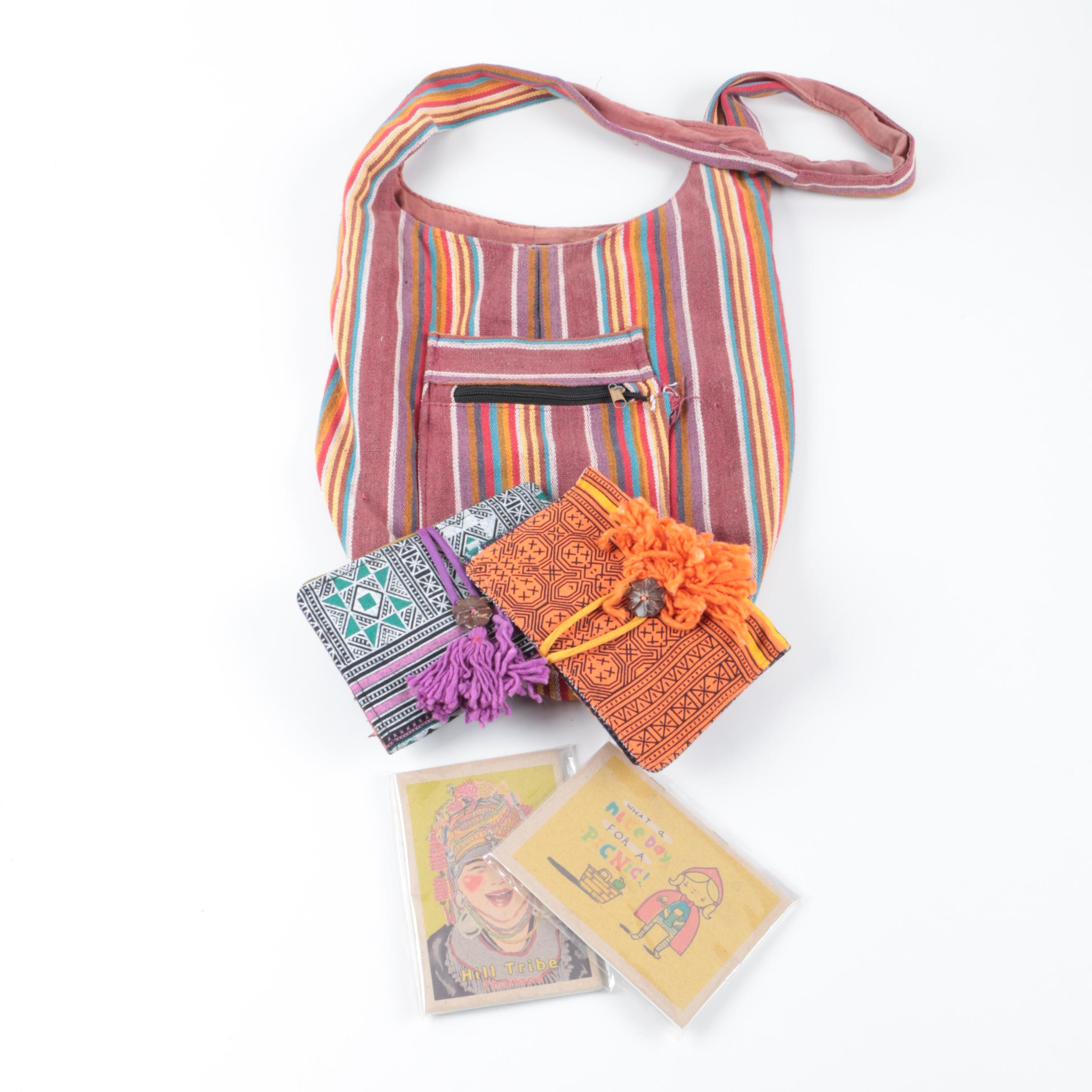 Woven Canvas Crossbody Bag and Journal Covers