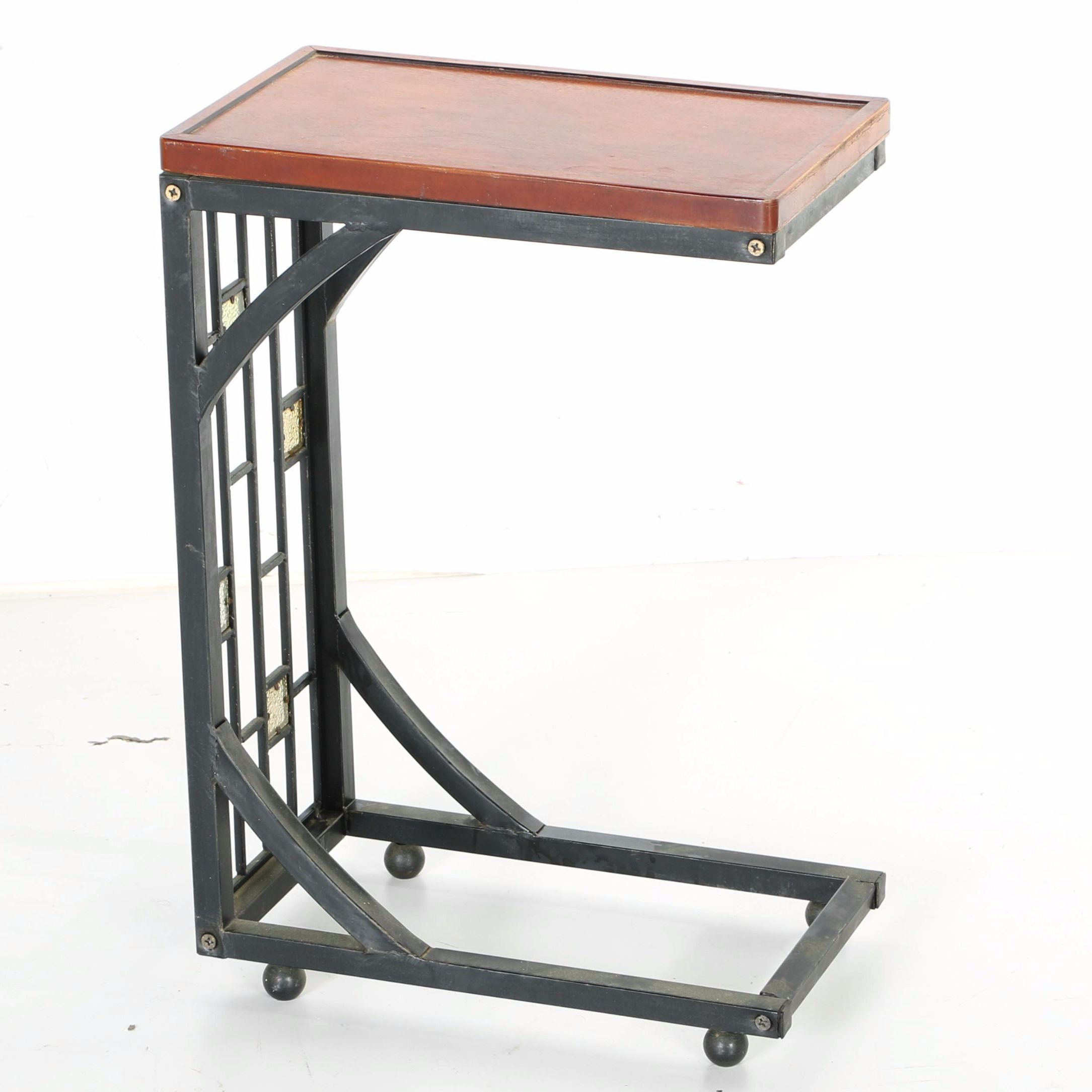 Rolling Iron Side Table With a Wood Top