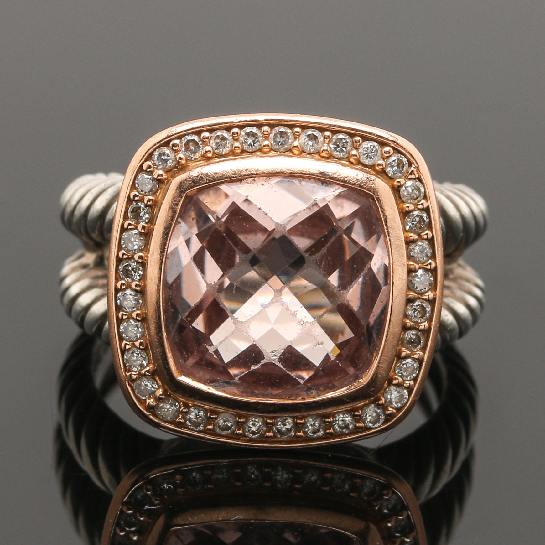 "David Yurman ""Albion"" Sterling Silver and 18K Gold Morganite and Diamond Ring"