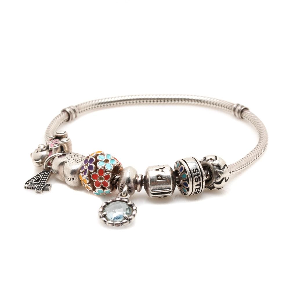 Sterling Silver Pandora Charm Bracelet