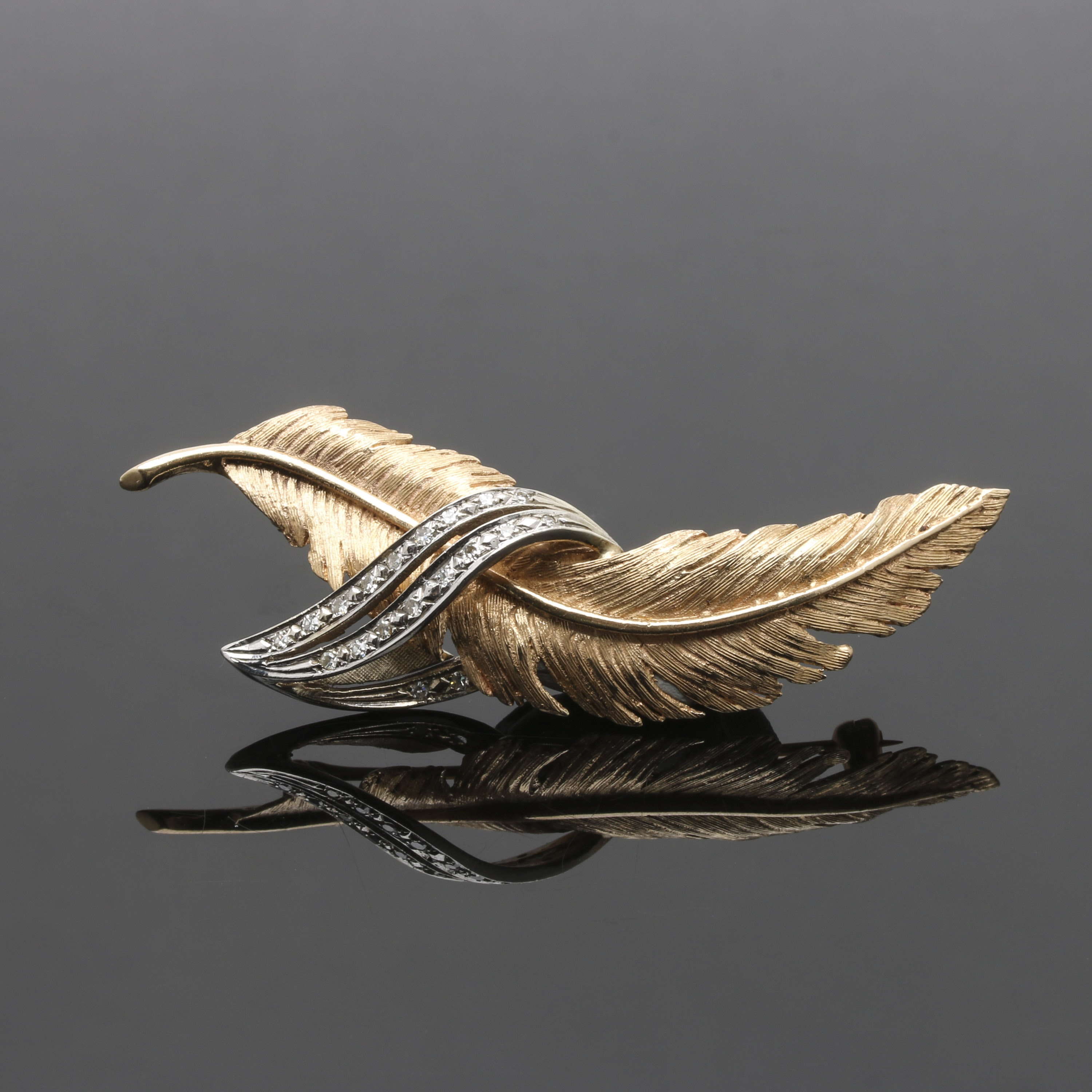 14K Yellow and White Gold Diamond Brooch